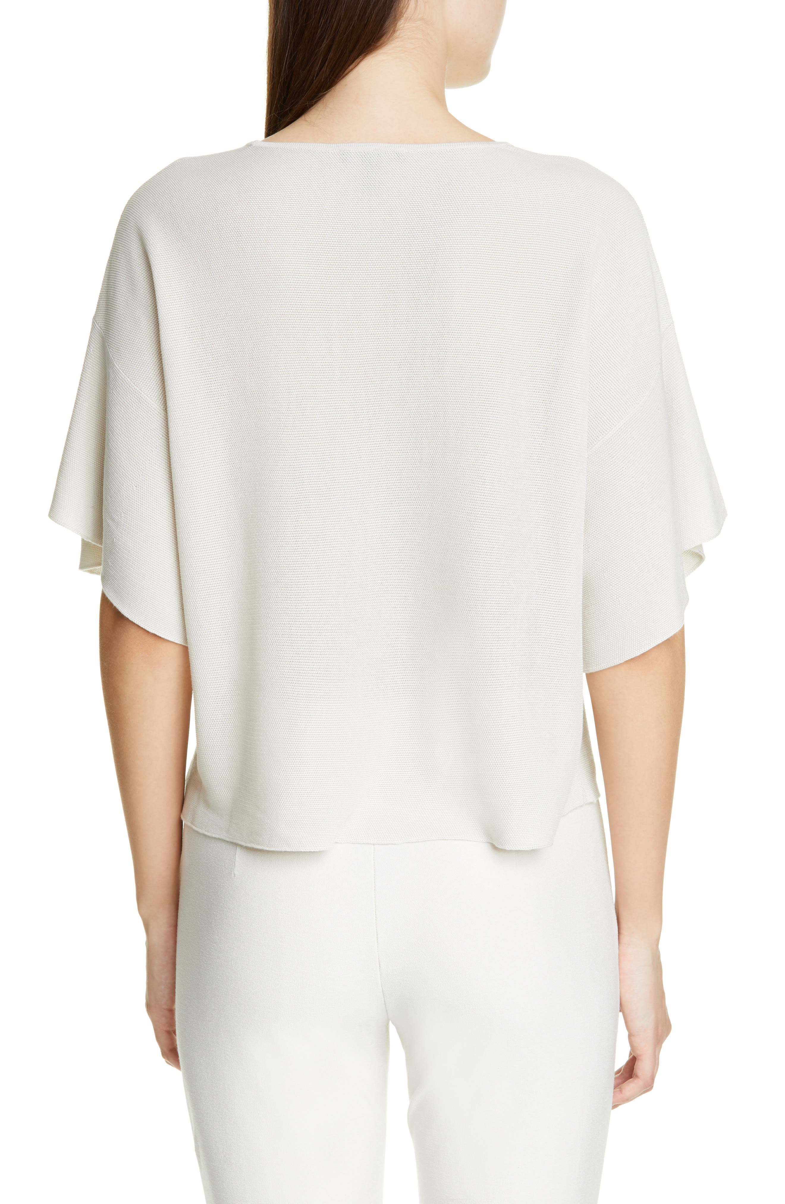 EILEEN FISHER, Elbow Sleeve Top, Alternate thumbnail 2, color, 100