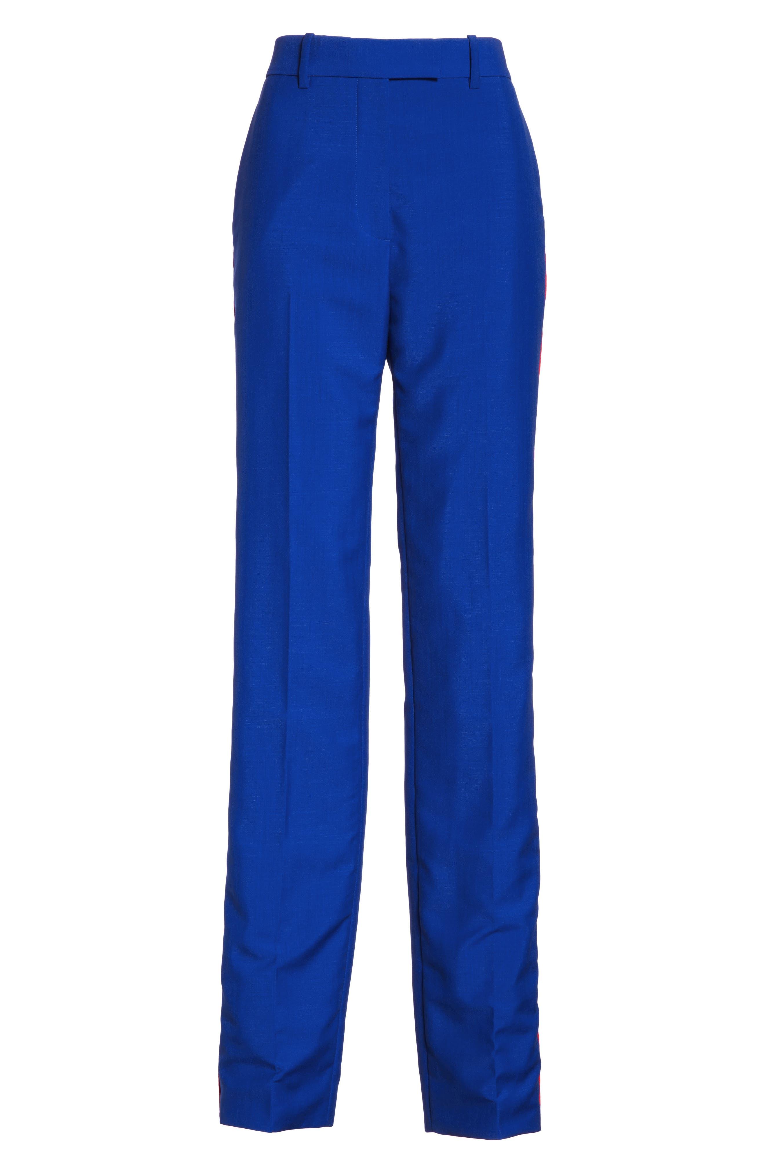 CALVIN KLEIN 205W39NYC, Side Stripe Mohair & Wool Straight Leg Pants, Alternate thumbnail 6, color, BRIGHT BLUE