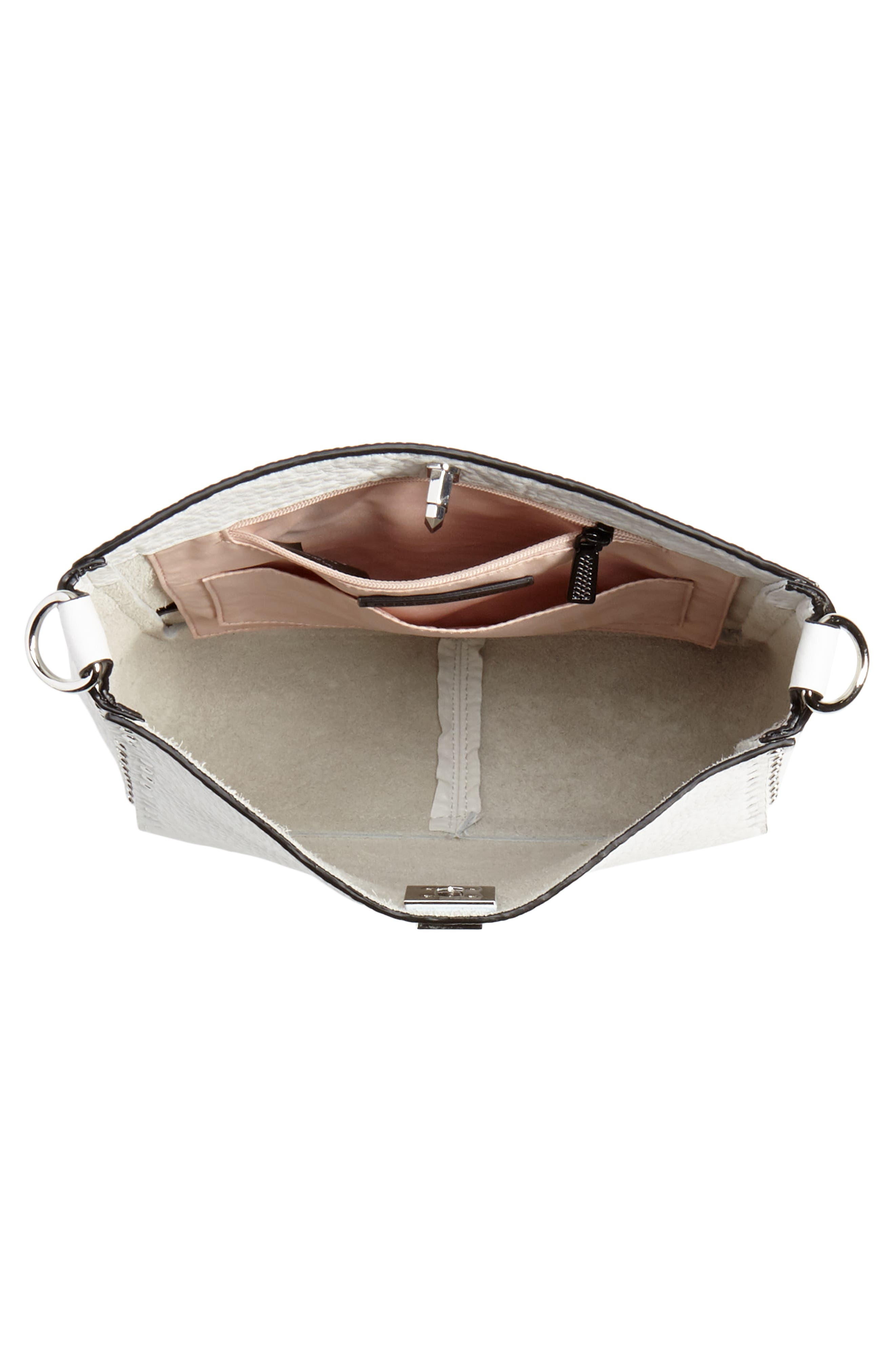 REBECCA MINKOFF, Small Studded Leather Feed Bag, Alternate thumbnail 6, color, OPTIC WHITE