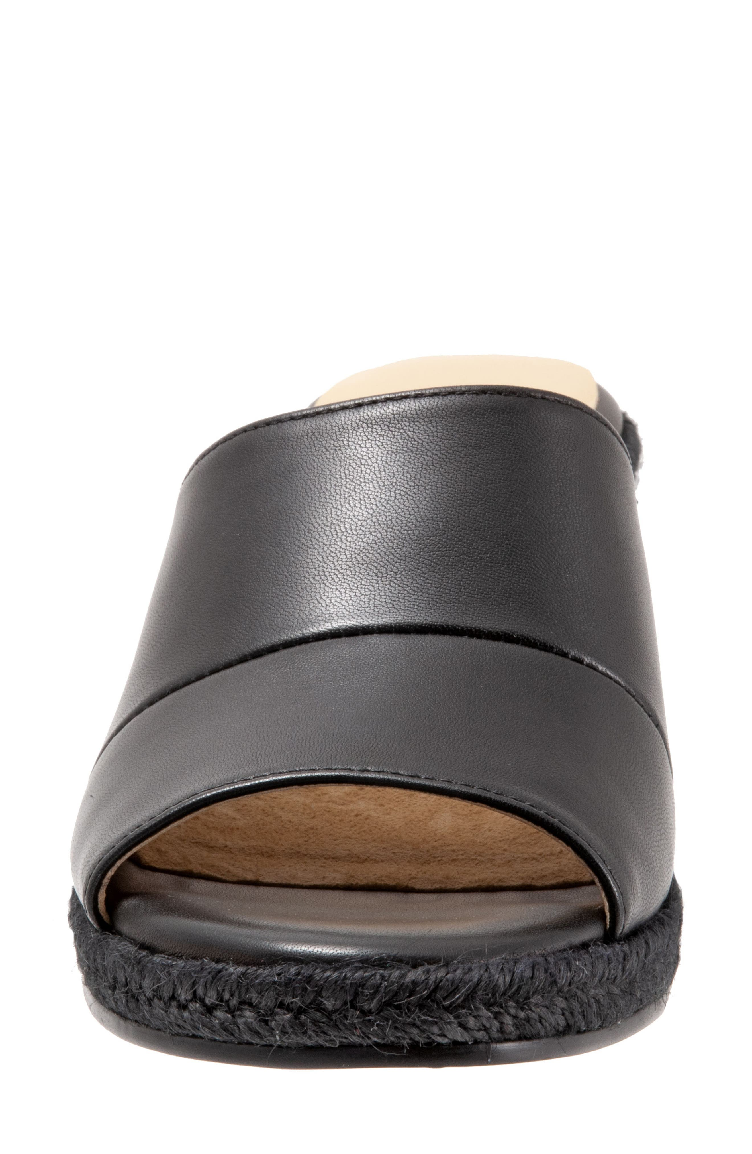 TROTTERS, Colony Wedge Slide Sandal, Alternate thumbnail 4, color, BLACK LEATHER