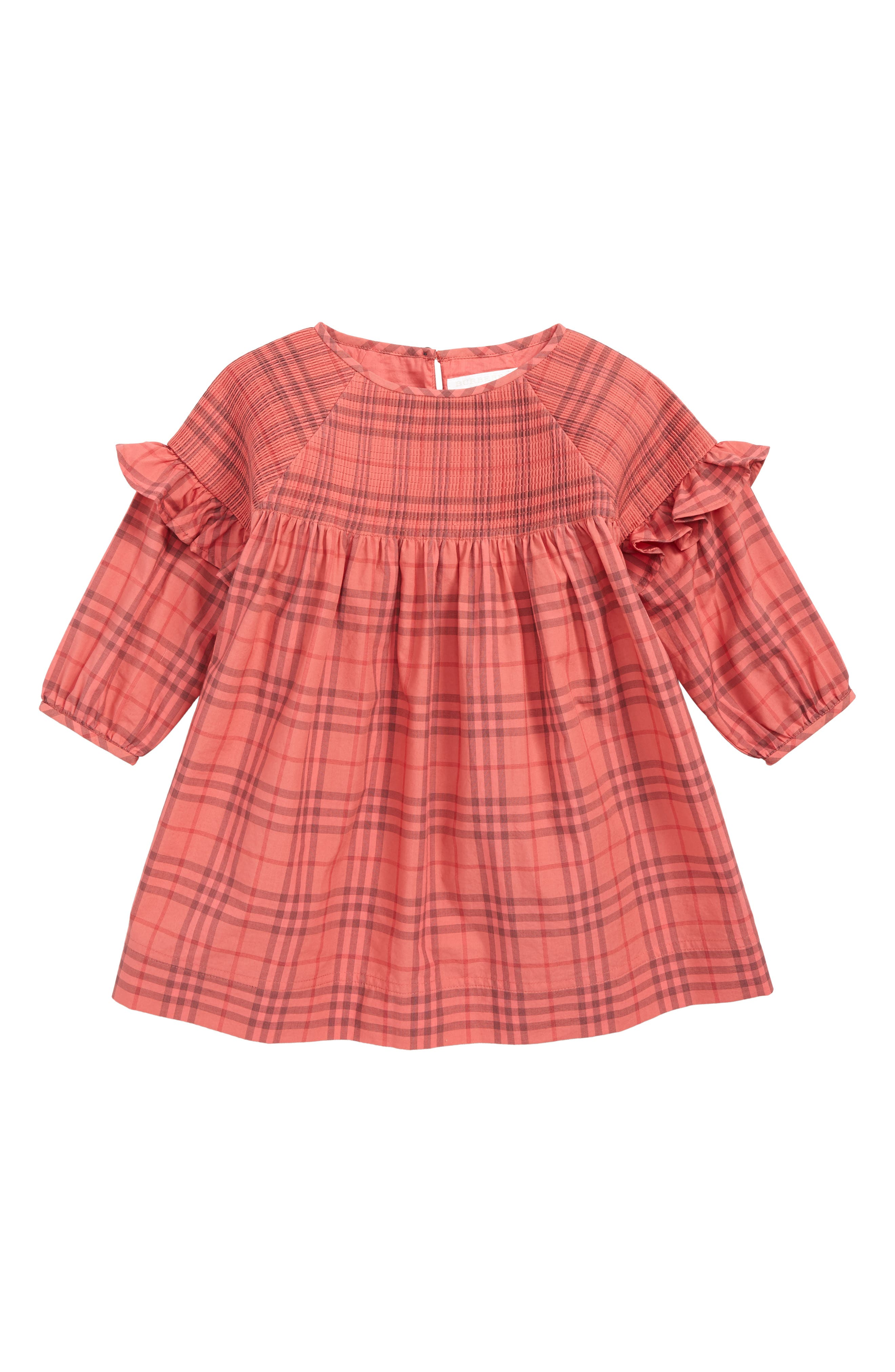 BURBERRY, Mini Loralie Ruffle Detail Check Cotton Dress, Main thumbnail 1, color, CORAL RED