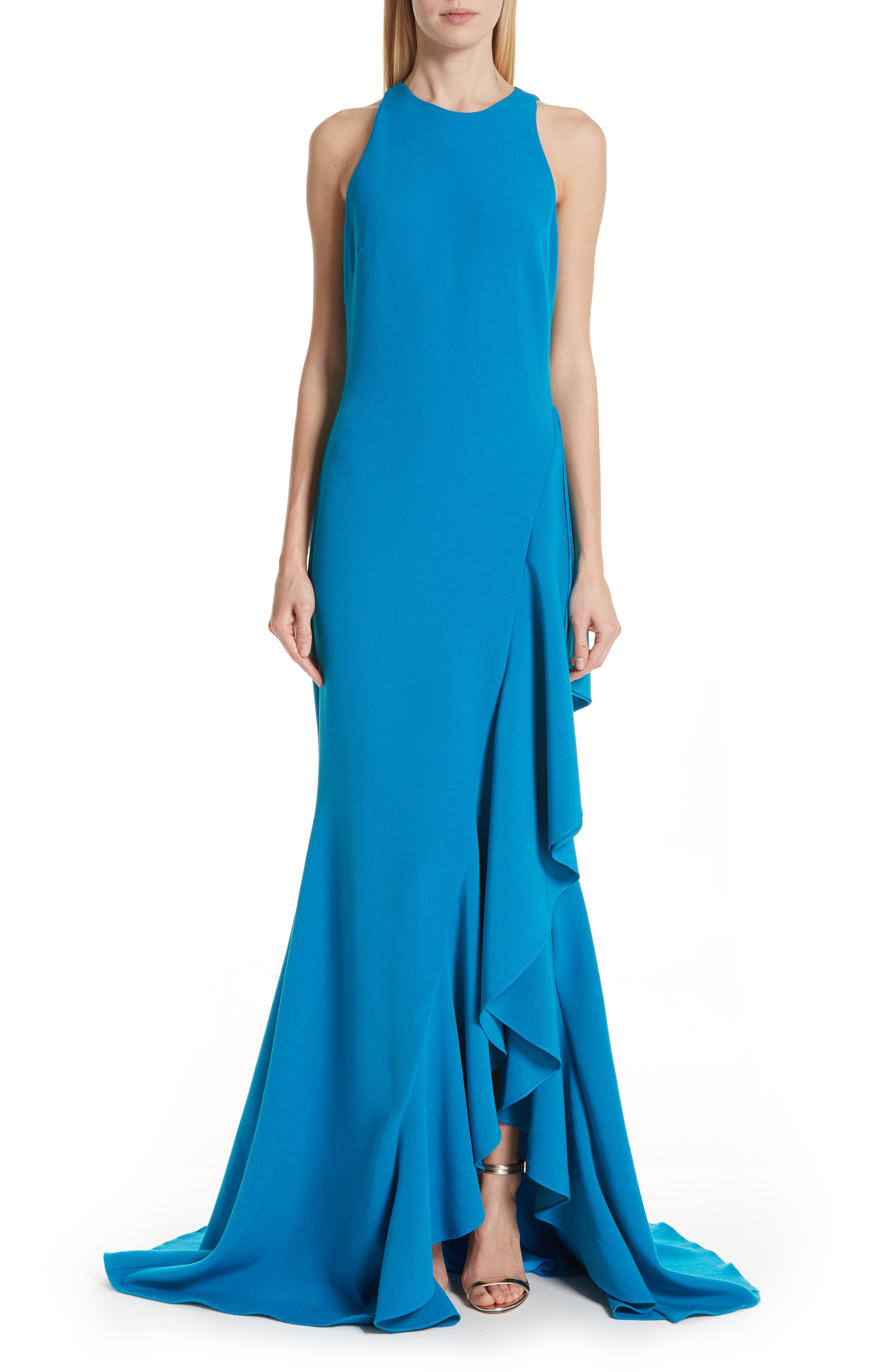 Badgley Mischka Side Ruffle Evening Dress, Blue