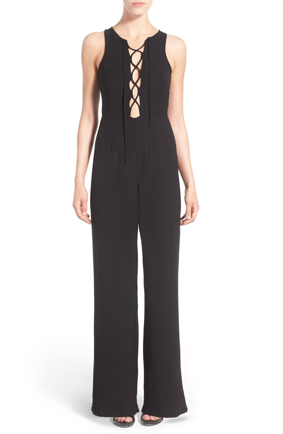 MISSGUIDED, Lace-Up Front Jumpsuit, Main thumbnail 1, color, 001