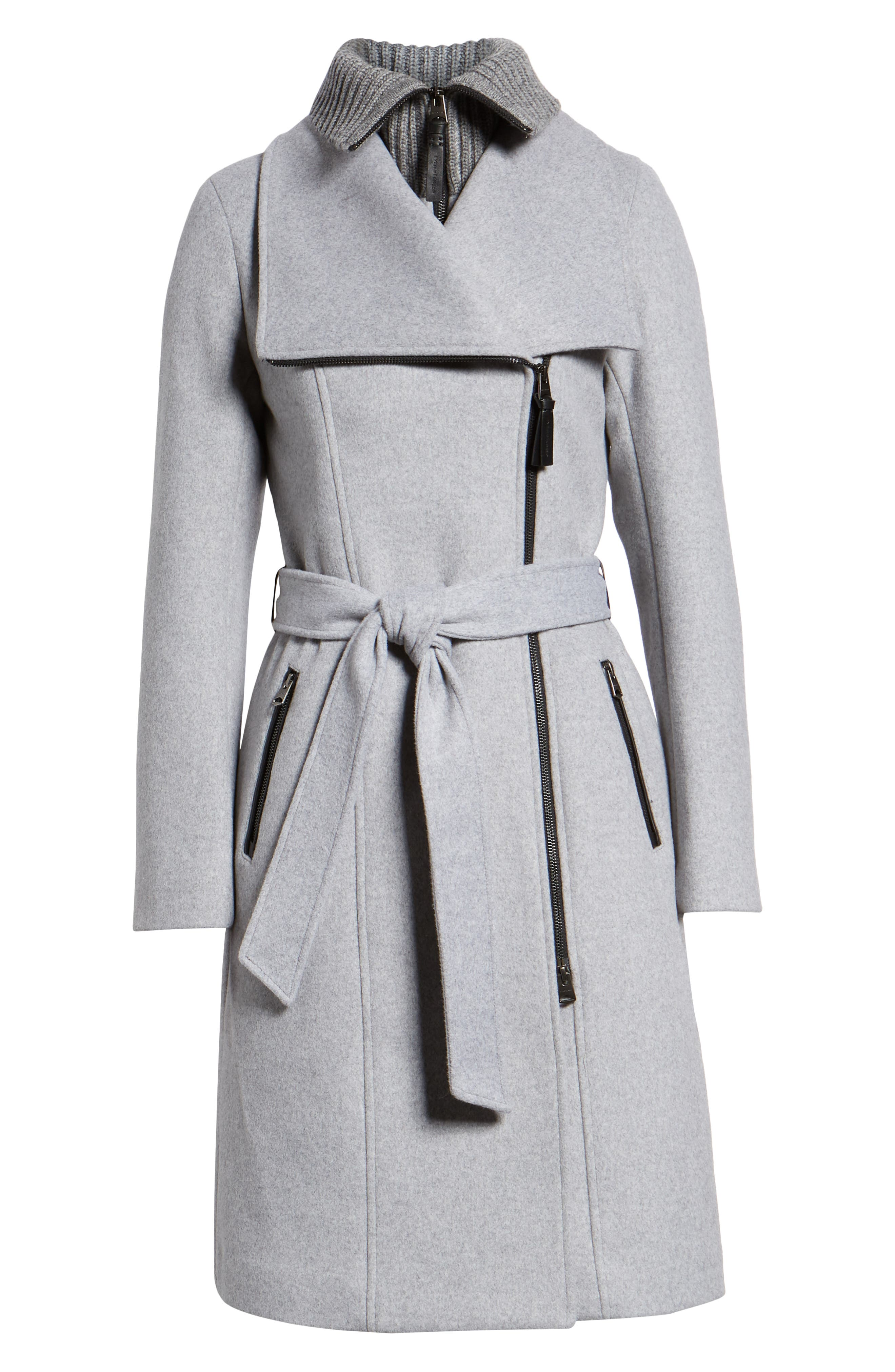 MACKAGE, Nori Belted Wool Blend Coat, Alternate thumbnail 6, color, LIGHT GREY