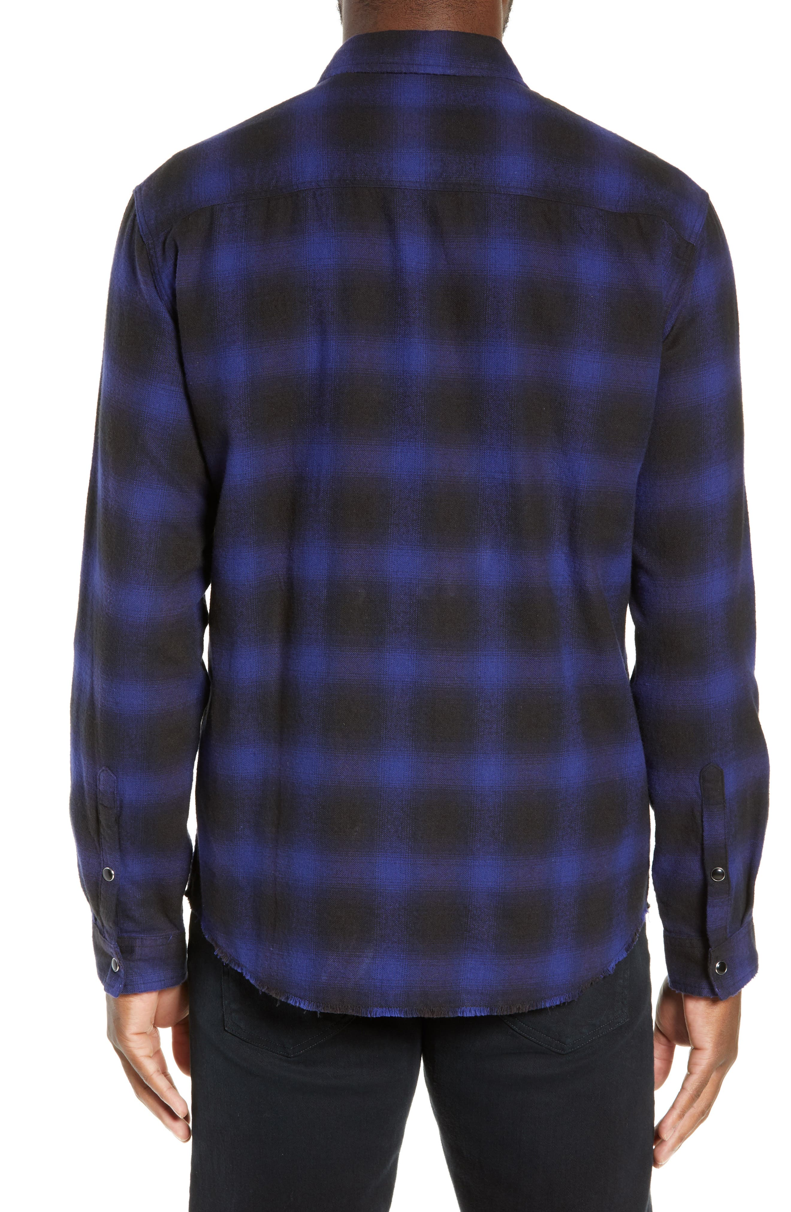 THE KOOPLES, Zip Flannel Jacket, Alternate thumbnail 2, color, BLUE BLACK