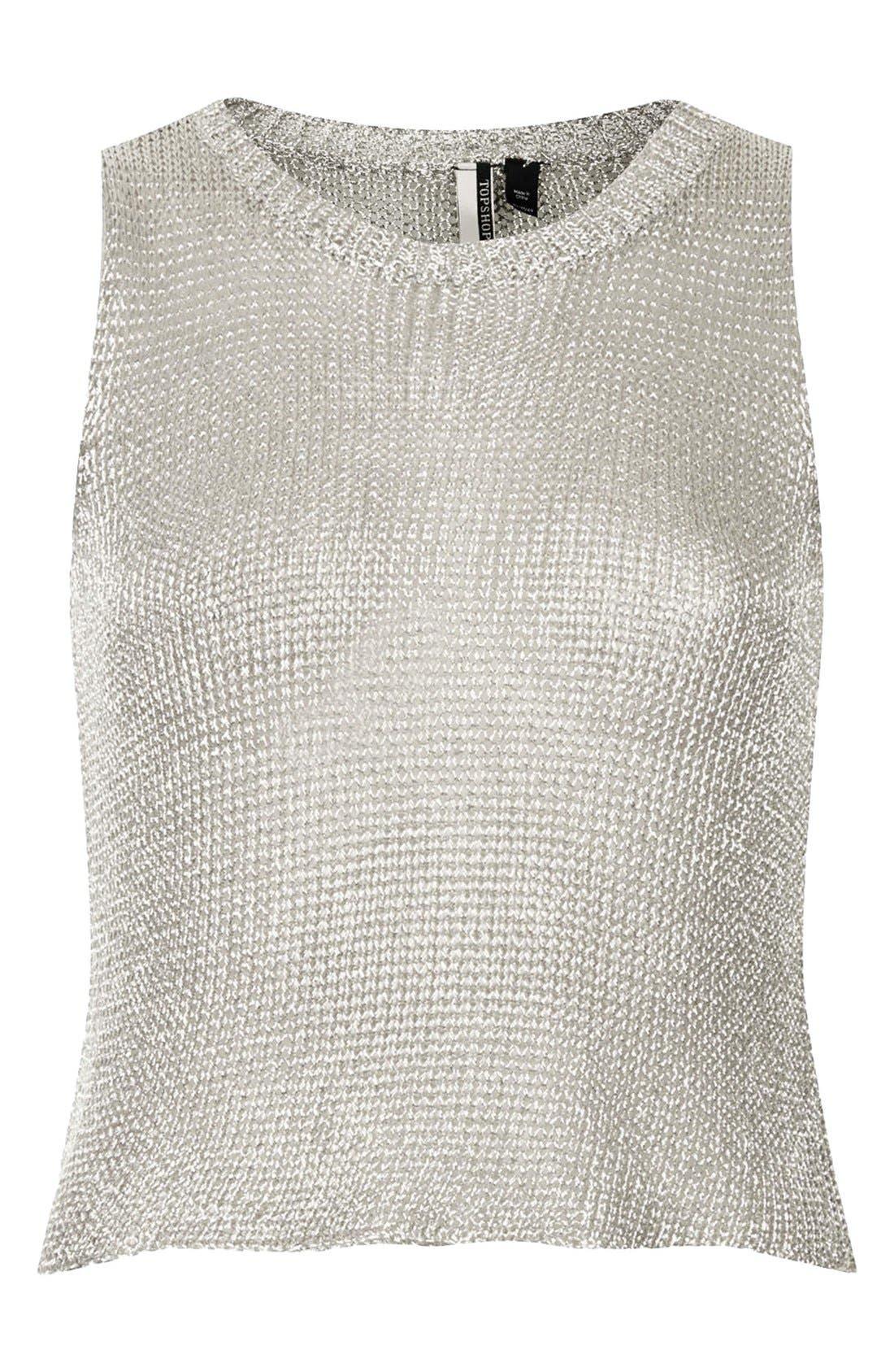 TOPSHOP, Metallic Knit Tank, Alternate thumbnail 3, color, 040