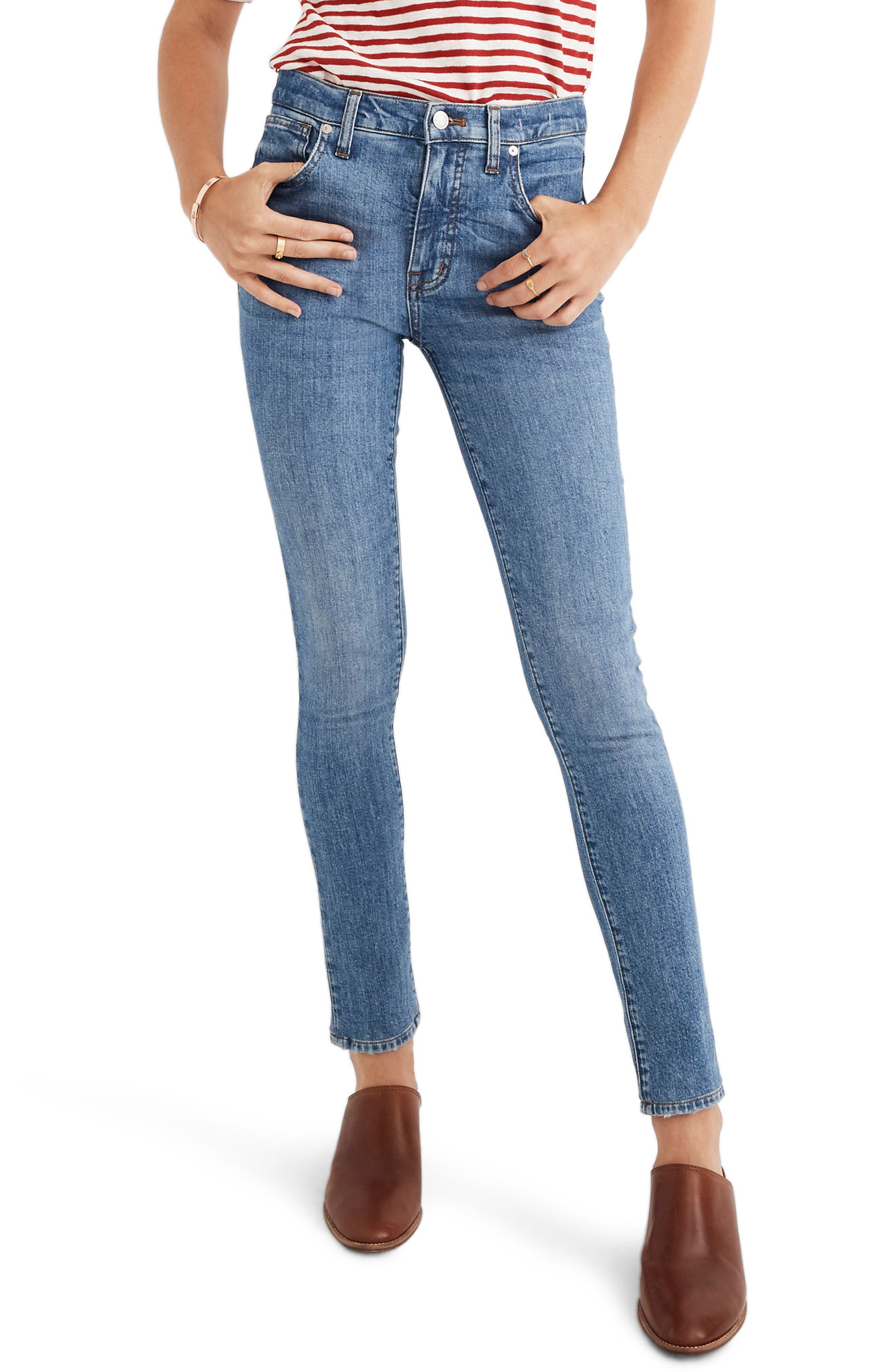 MADEWELL, 9-Inch High Waist Stretch Skinny Jeans, Main thumbnail 1, color, REGINA