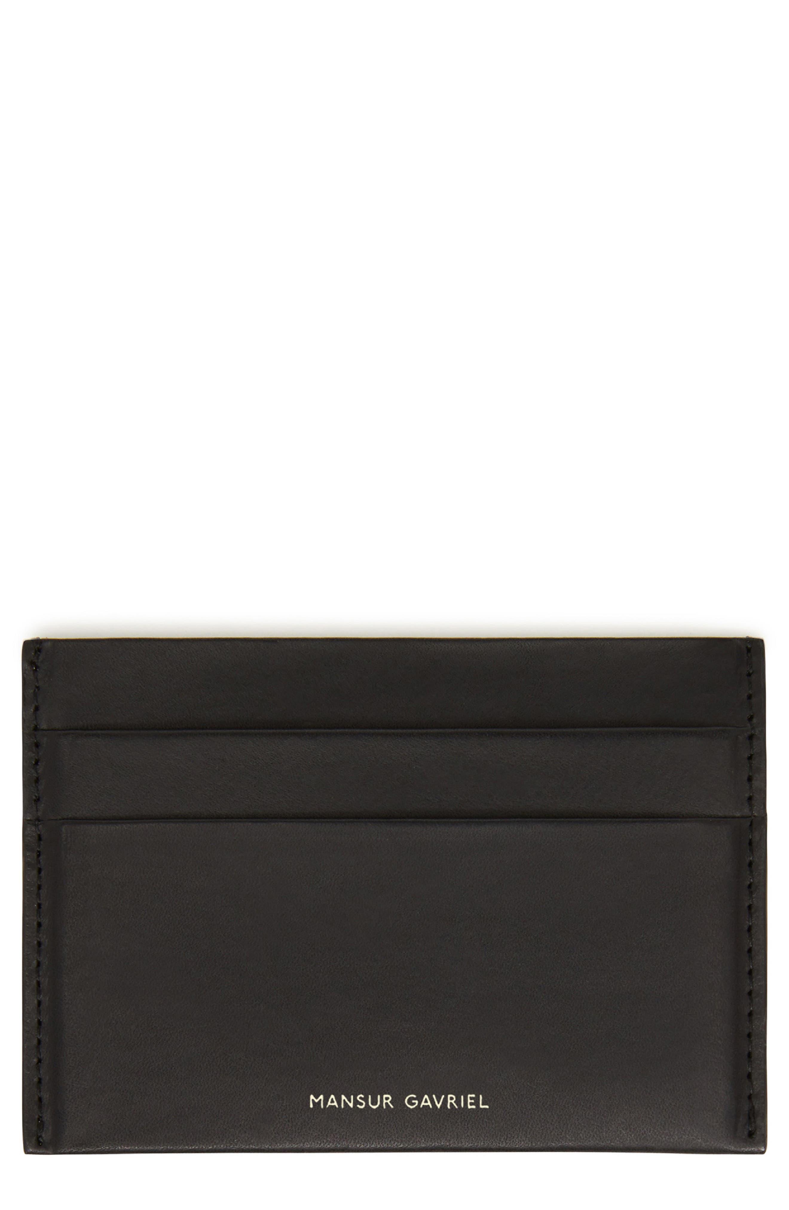 MANSUR GAVRIEL, Leather Card Holder, Main thumbnail 1, color, BLACK