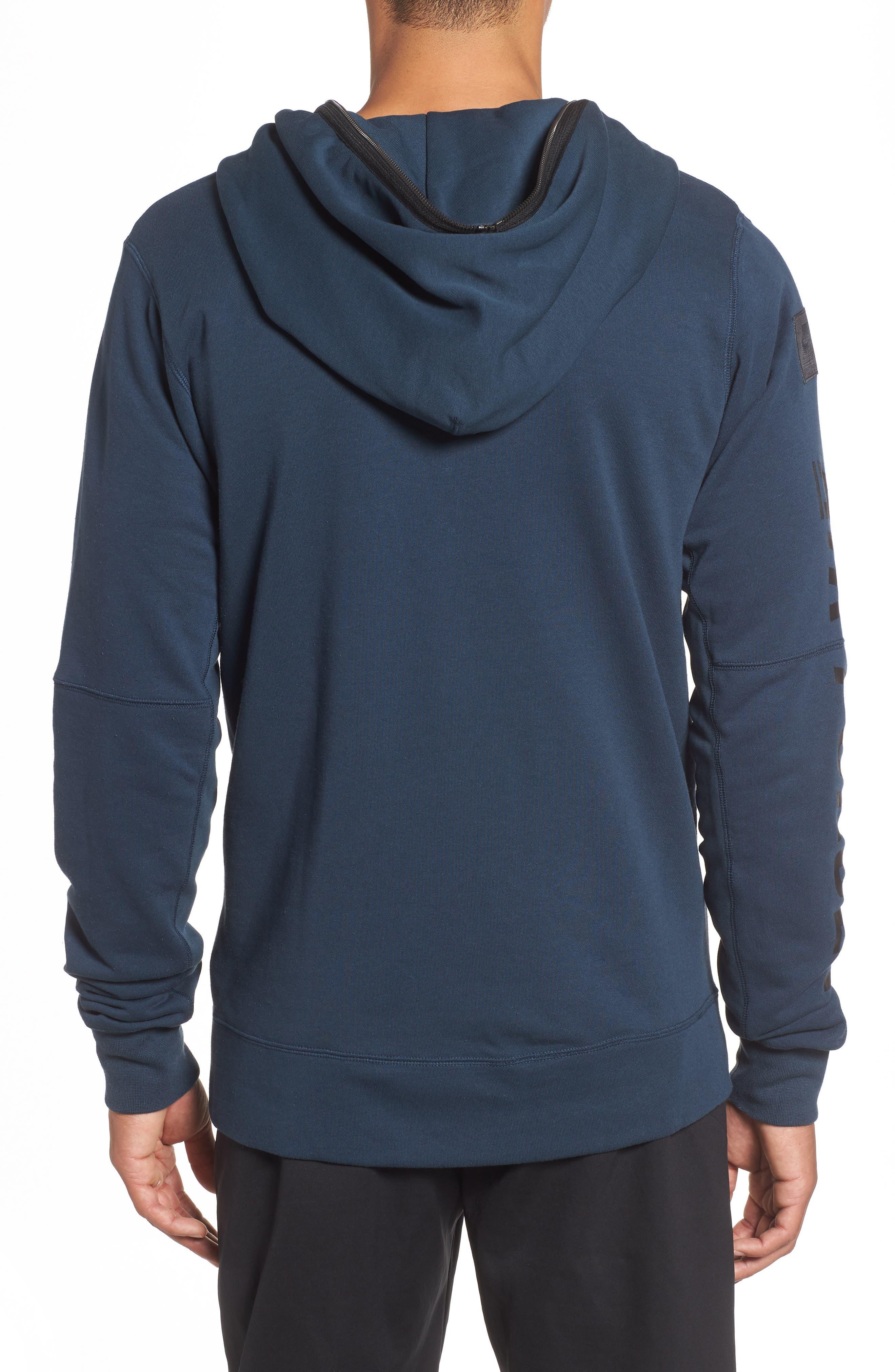 NIKE, Air Force One Zip Hoodie Jacket, Alternate thumbnail 2, color, ARMORY NAVY/ BLACK