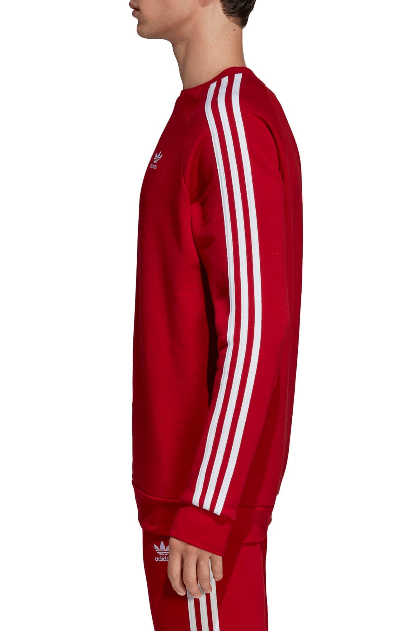 ADIDAS ORIGINALS, 3-Stripes Raglan Sweatshirt, Alternate thumbnail 3, color, POWER RED