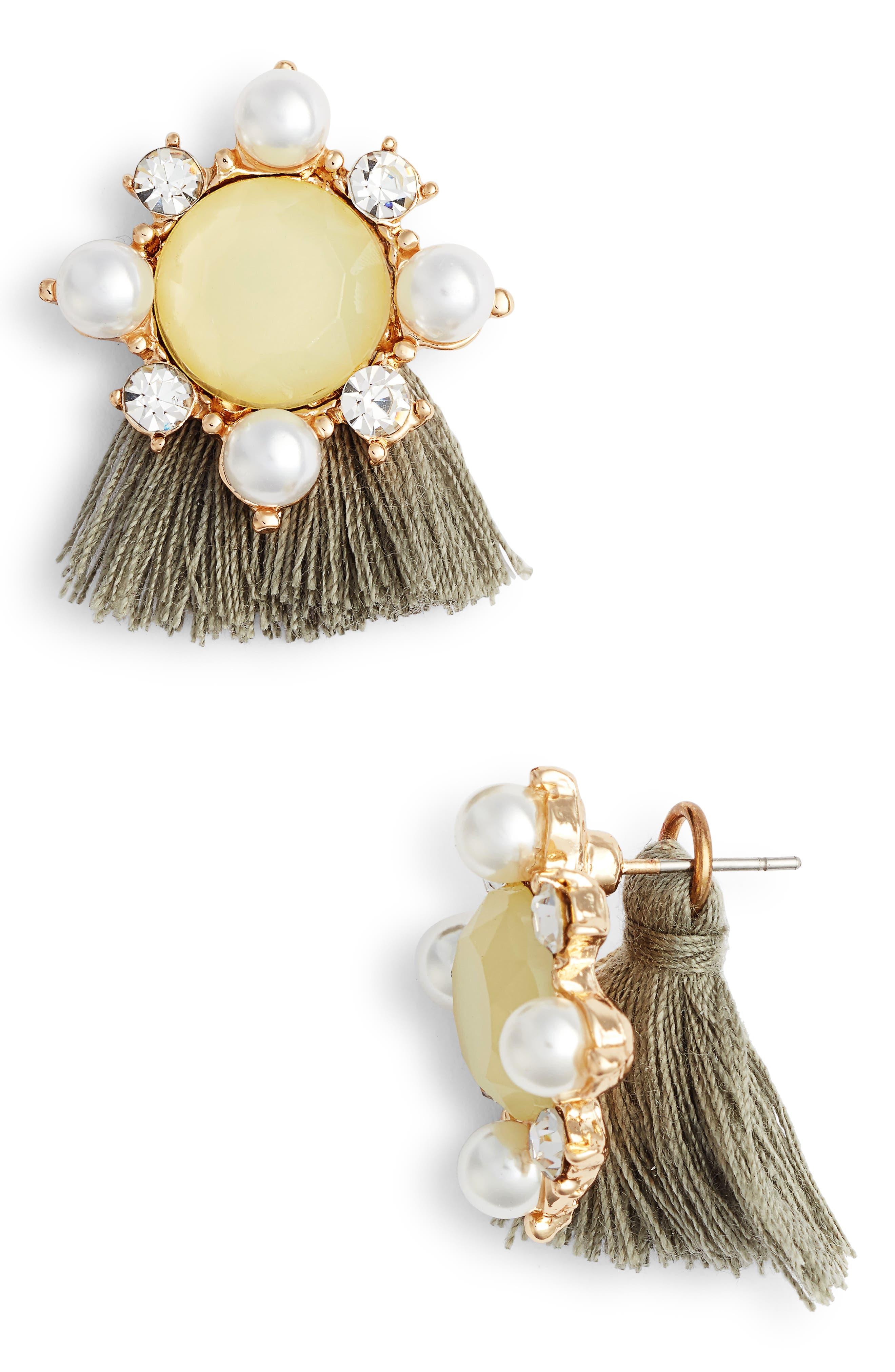 MAD JEWELS, Madeline Fringe Stud Earrings, Main thumbnail 1, color, 700