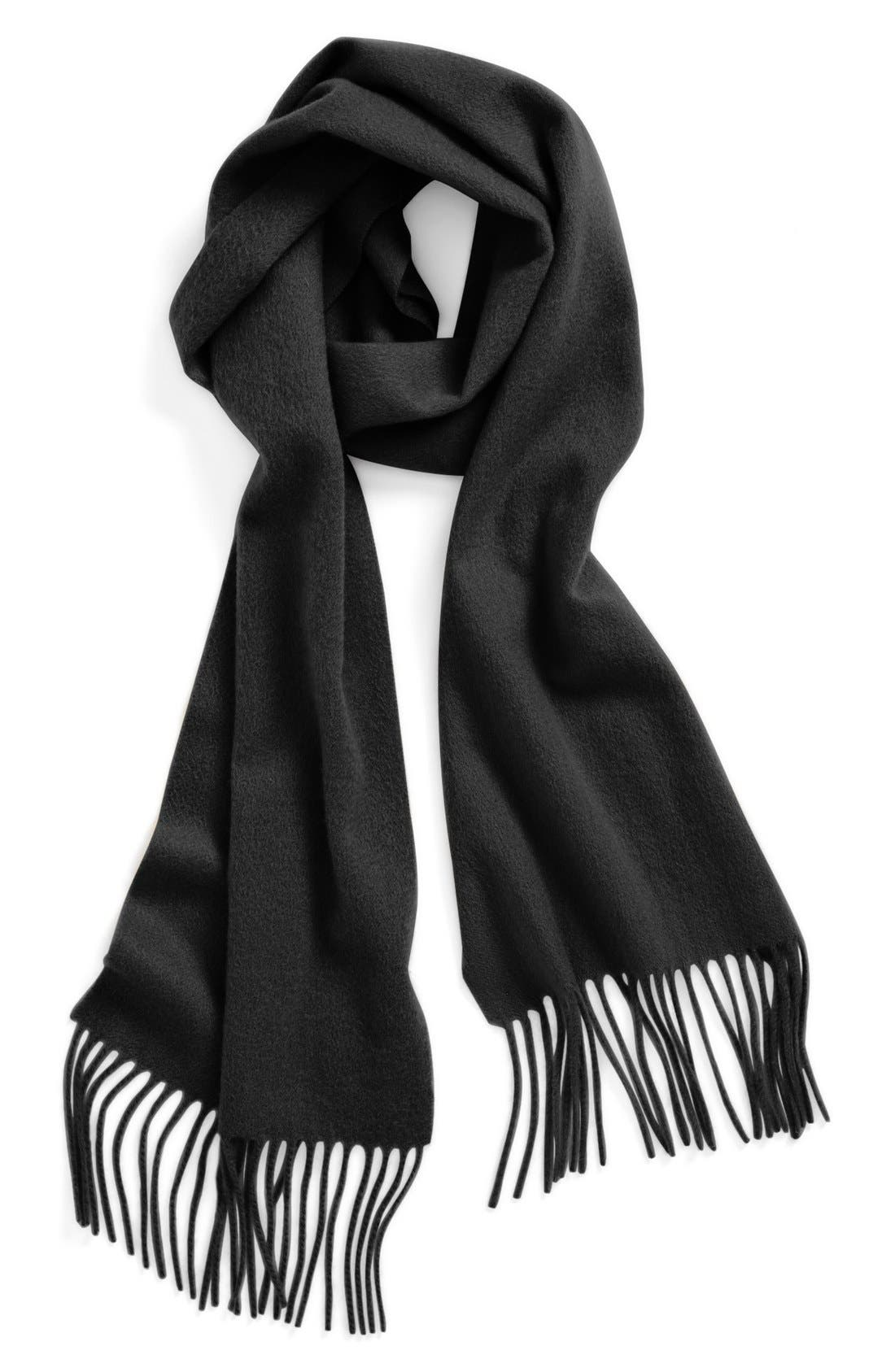 NORDSTROM, Solid Woven Cashmere Scarf, Main thumbnail 1, color, 001