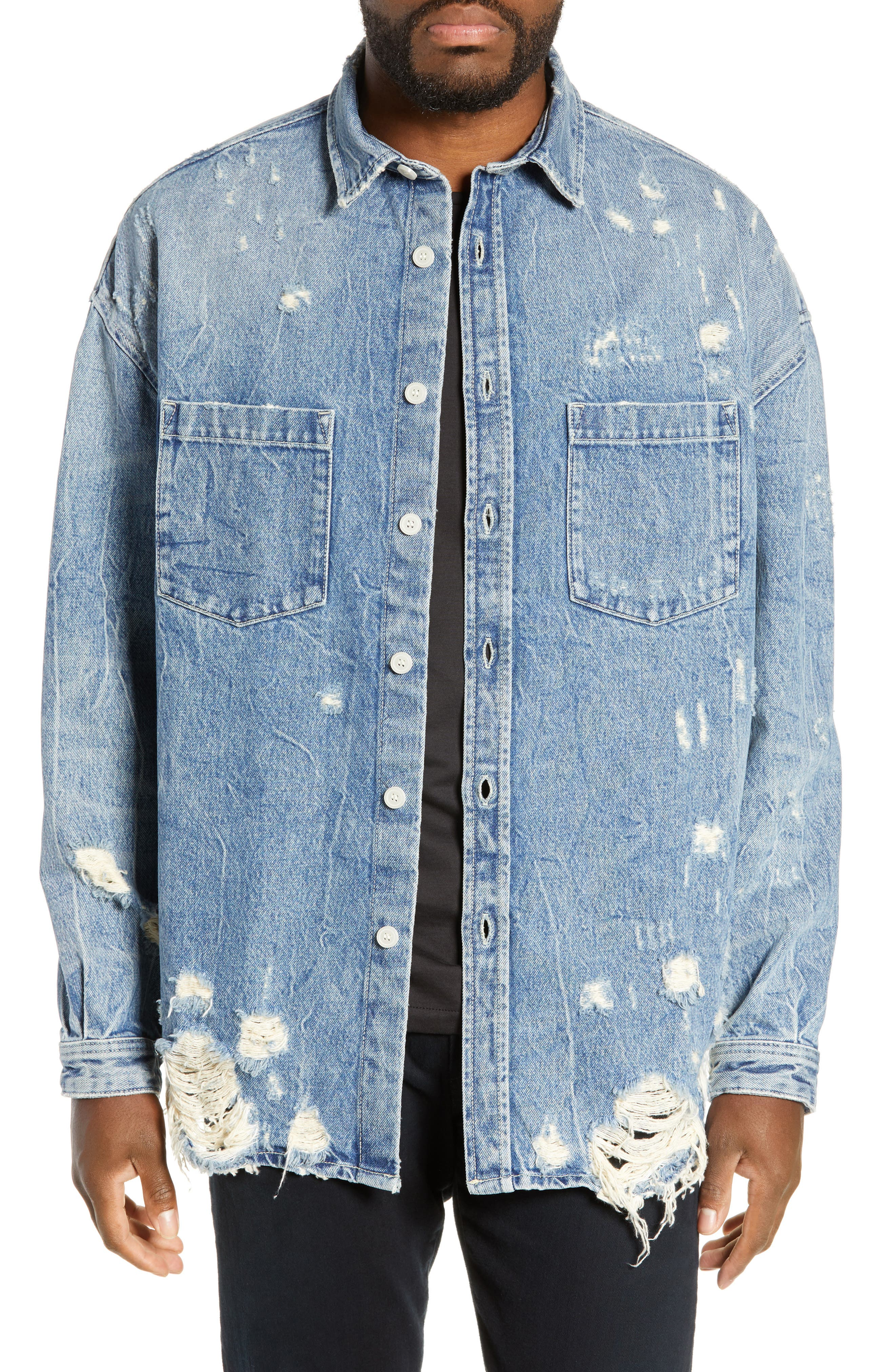 THE KOOPLES Distressed Denim Overshirt, Main, color, BLUE DENIM