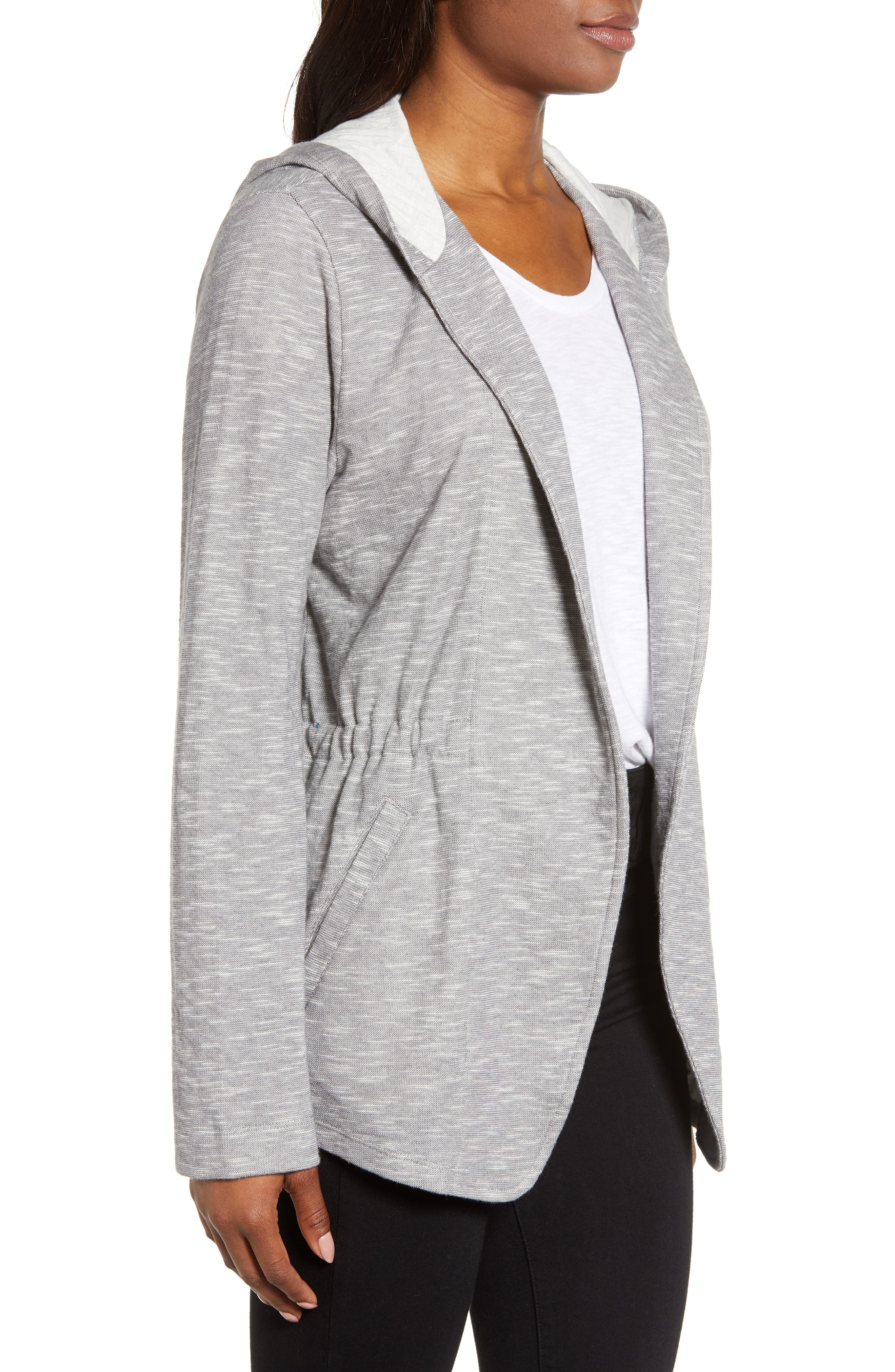 CASLON<SUP>®</SUP>, Open Front Hooded Cardigan, Alternate thumbnail 4, color, GREY- IVORY SPACEDYE