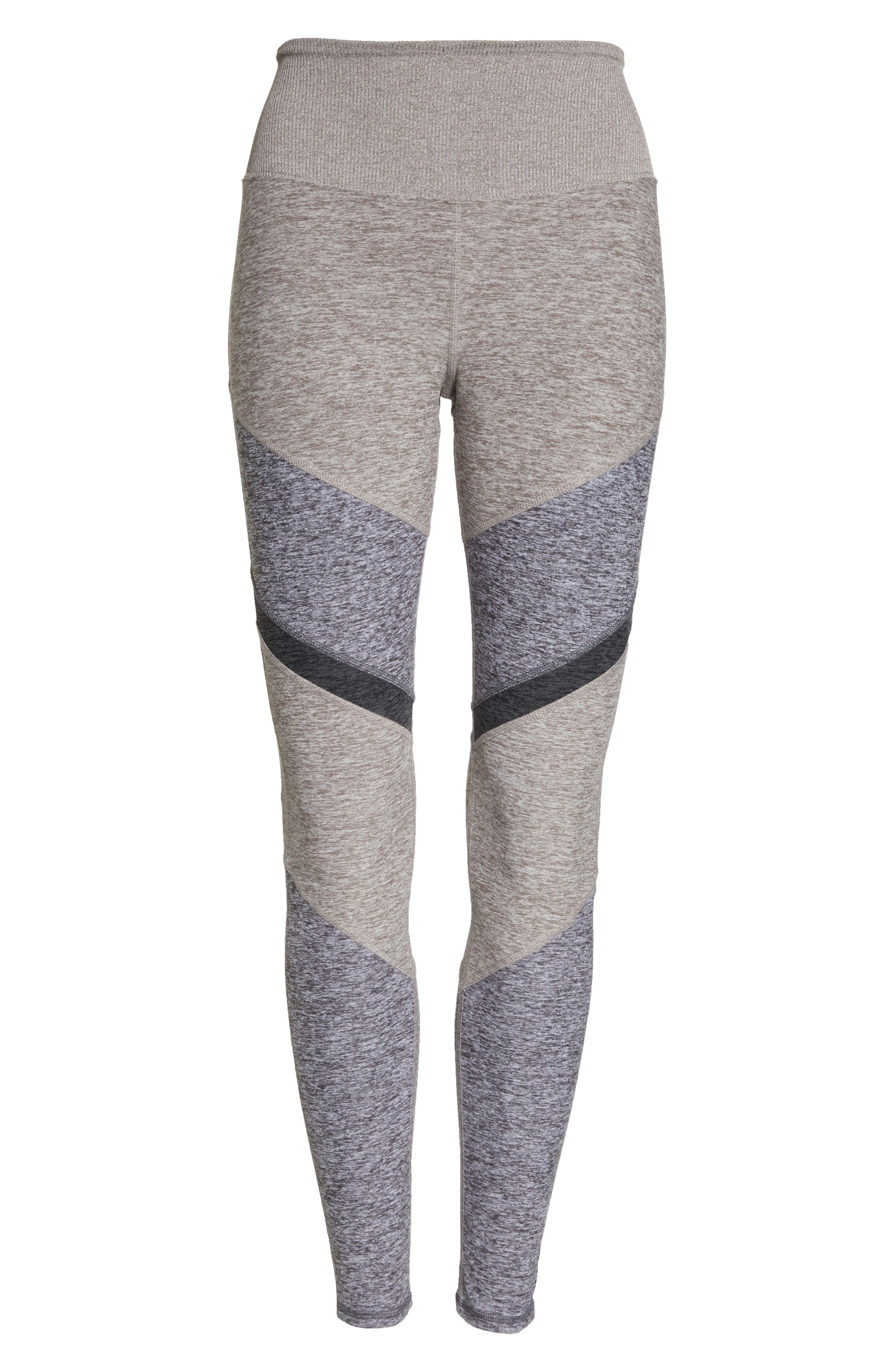 ALO, Sheila Alosoft High Waist Leggings, Alternate thumbnail 7, color, GRAVEL HEATHER/ DOVE GREY