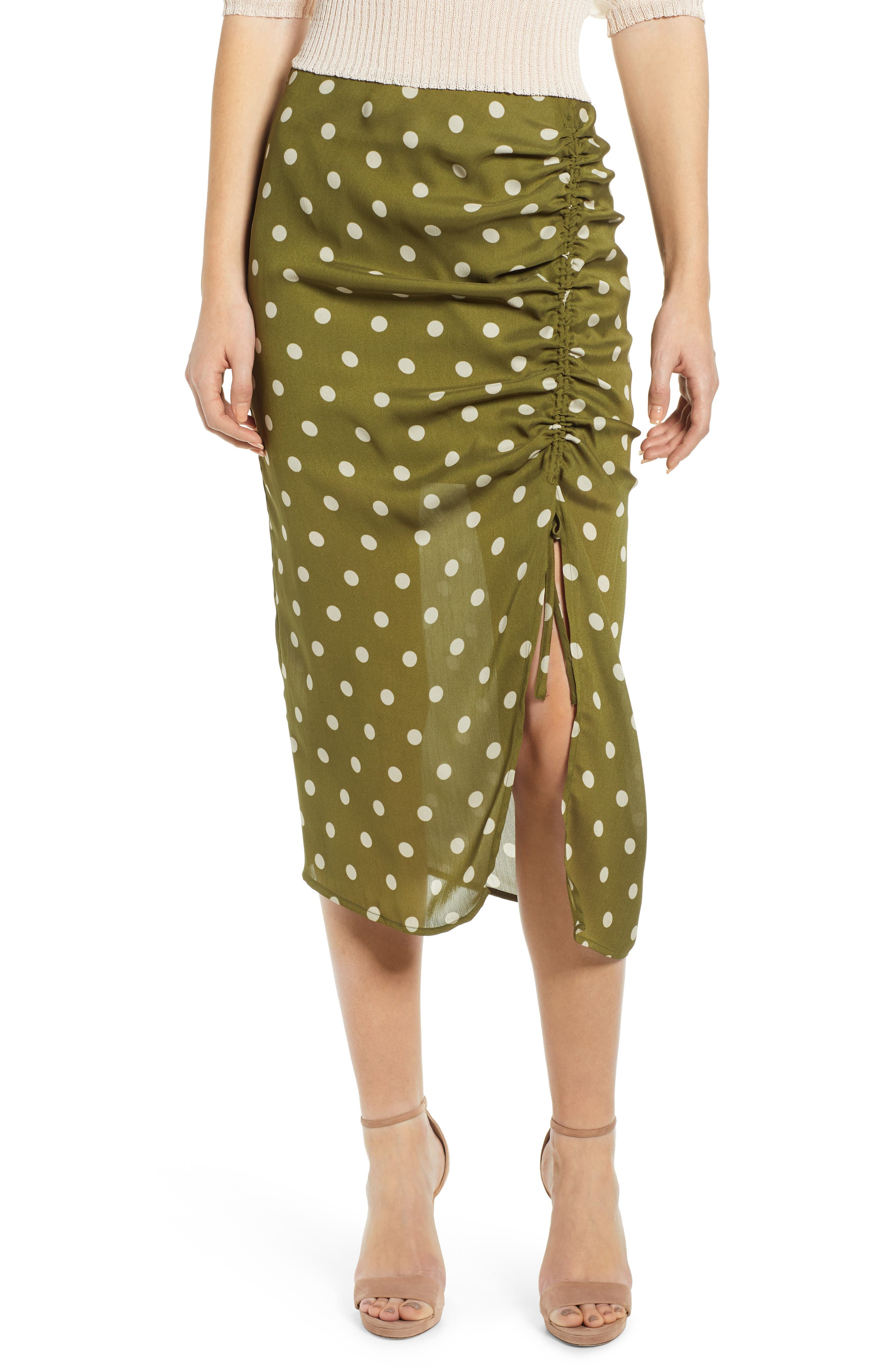 CHRISELLE LIM COLLECTION, Chriselle Lim Ren Ruched Skirt, Main thumbnail 1, color, CREAM/ OLIVE