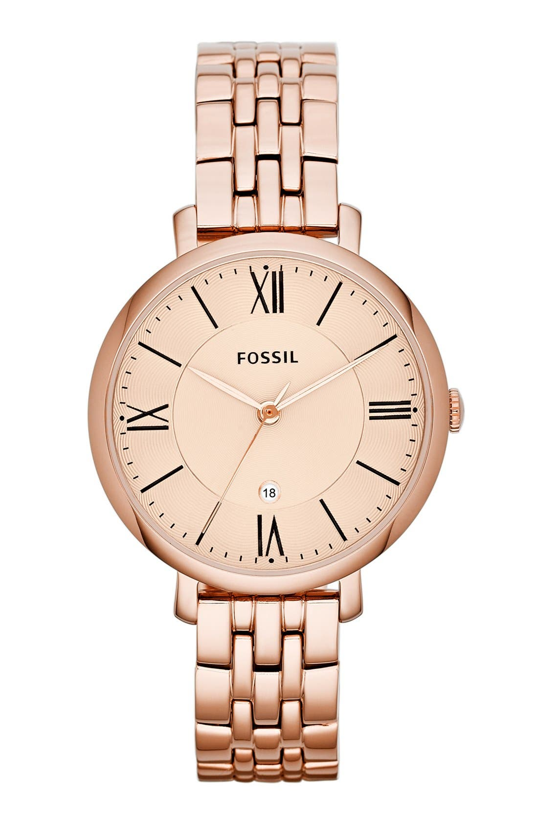 FOSSIL, 'Jacqueline' Round Bracelet Watch, 36mm, Main thumbnail 1, color, ROSE GOLD