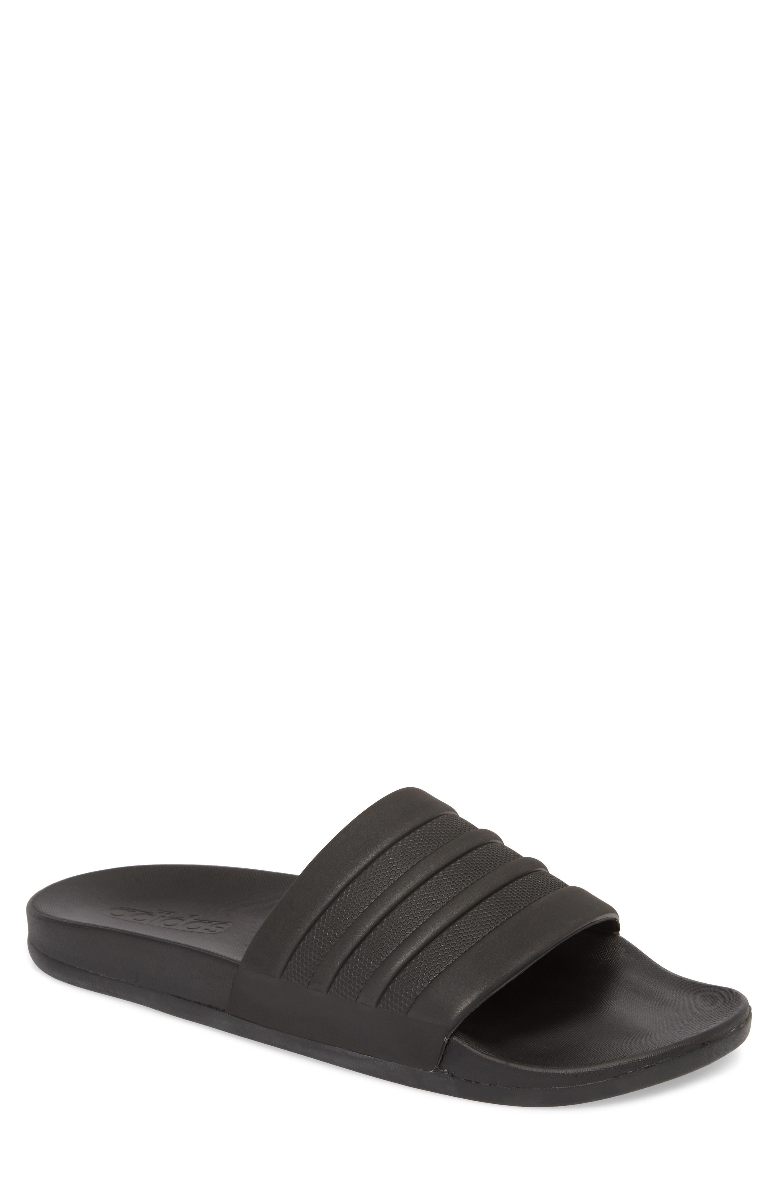 ADIDAS, Adilette Cloudfoam Mono Sport Slide Sandal, Main thumbnail 1, color, BLACK/ BLACK