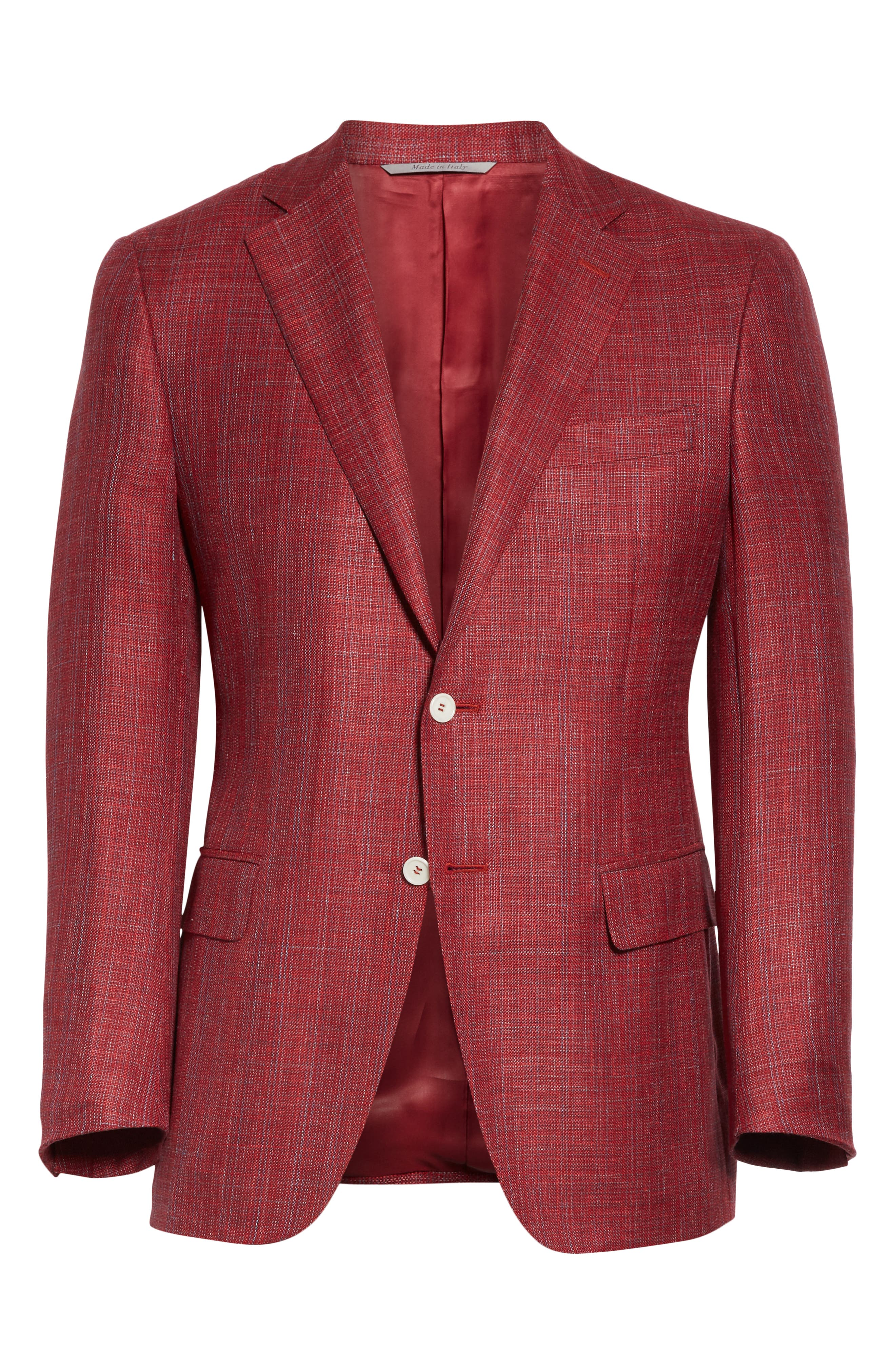 CANALI, Siena Classic Fit Wool, Silk & Linen Blend Sport Coat, Alternate thumbnail 5, color, RED