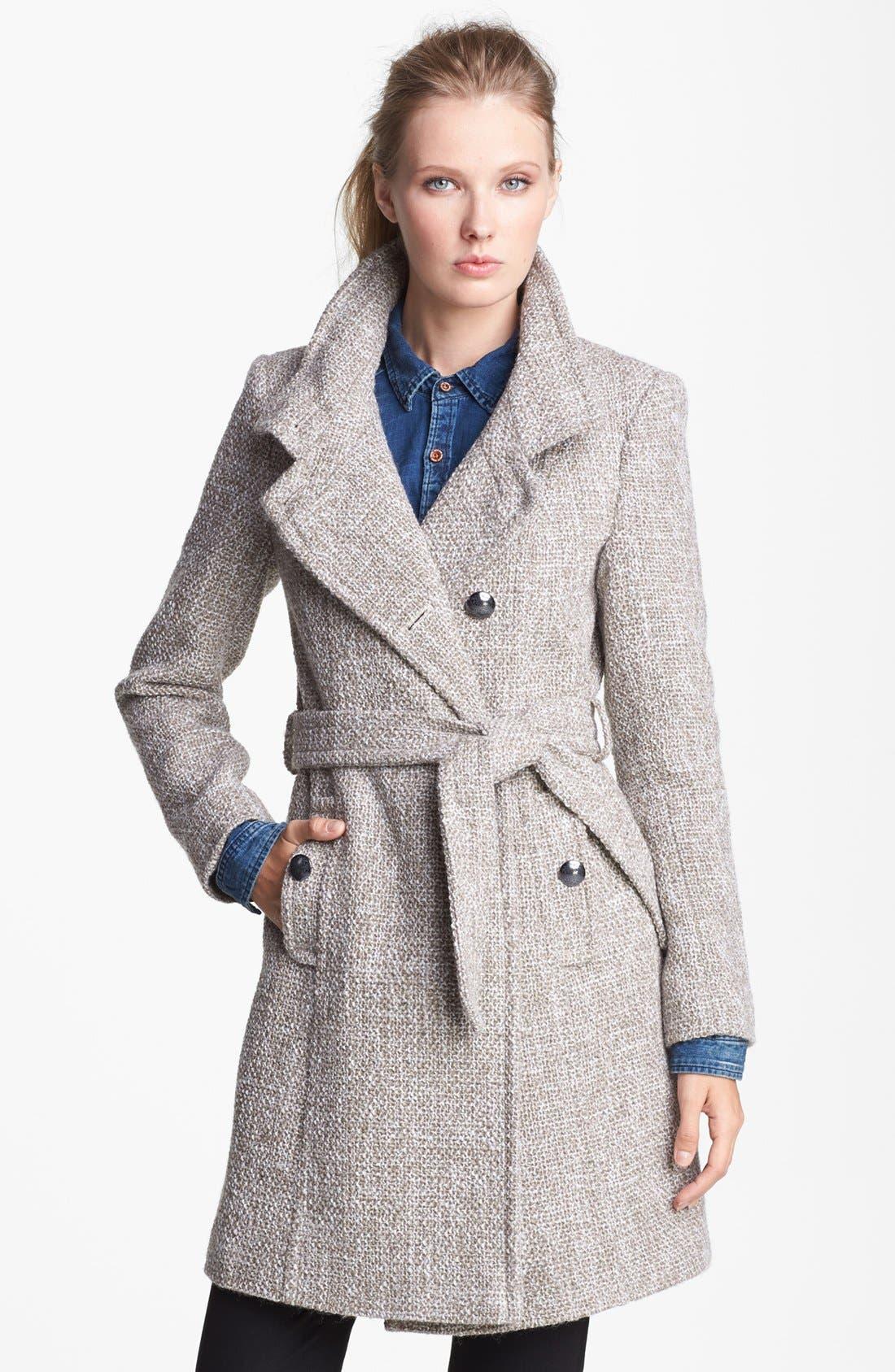 T TAHARI 'Izzy' Belted Tweed Coat, Main, color, 200