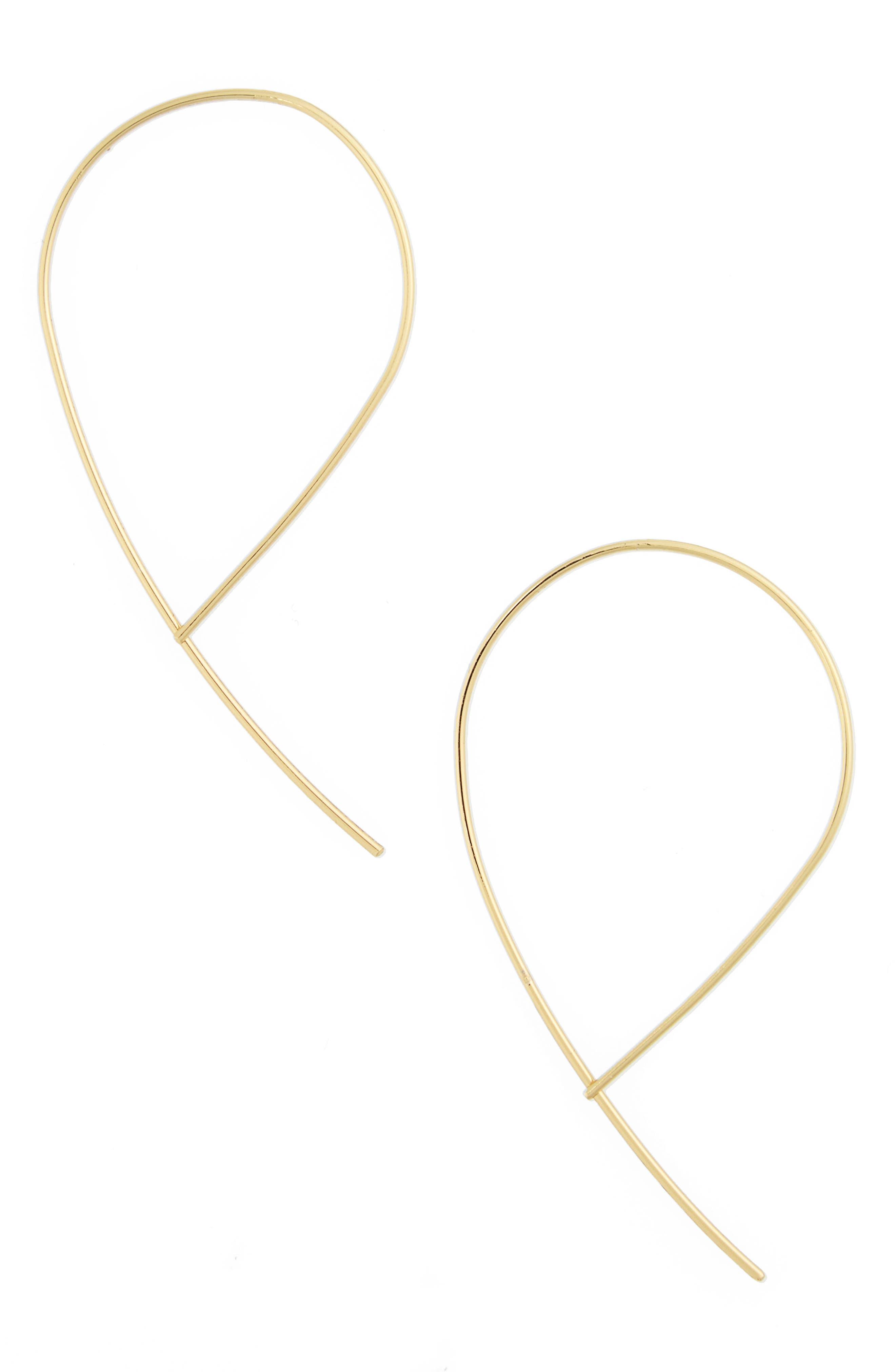 BAUBLEBAR, Arie Threader Earrings, Main thumbnail 1, color, GOLD