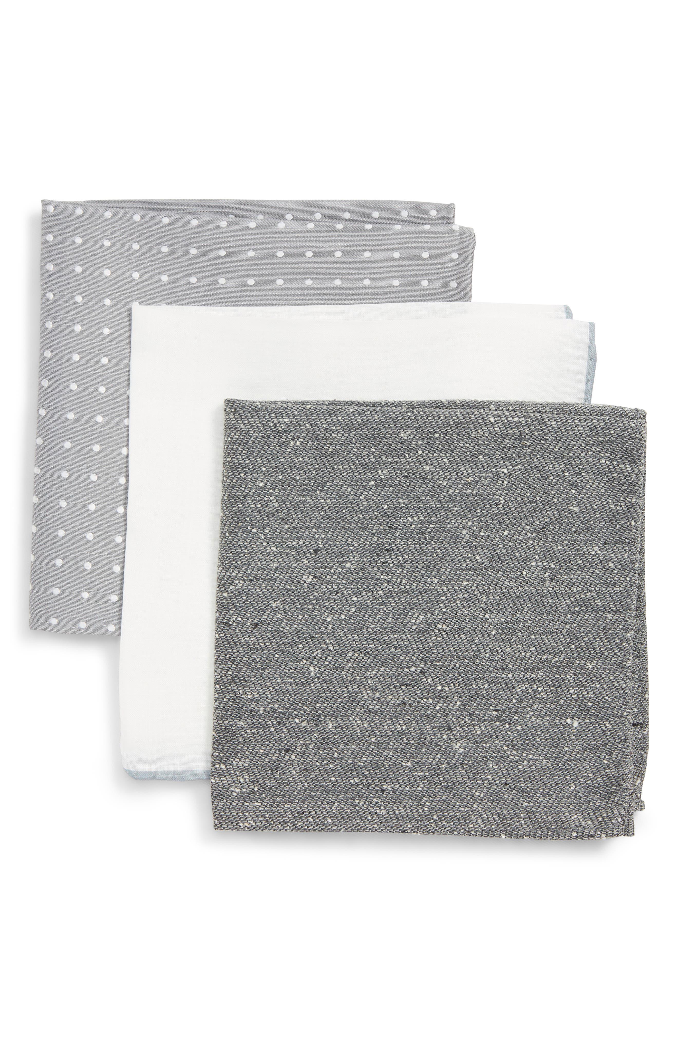 THE TIE BAR, 3-Pack Pocket Squares, Main thumbnail 1, color, GREY