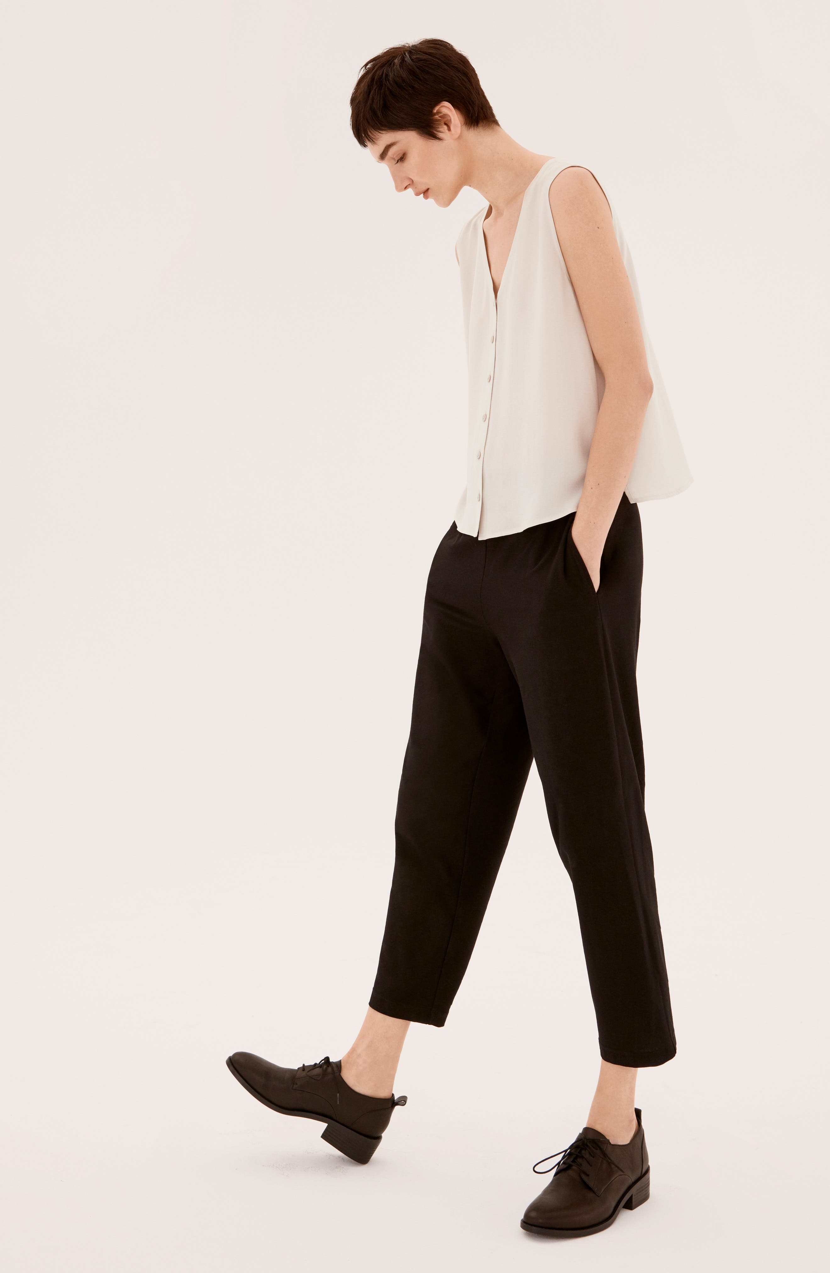 EILEEN FISHER, Tapered Ankle Pants, Alternate thumbnail 9, color, BLACK