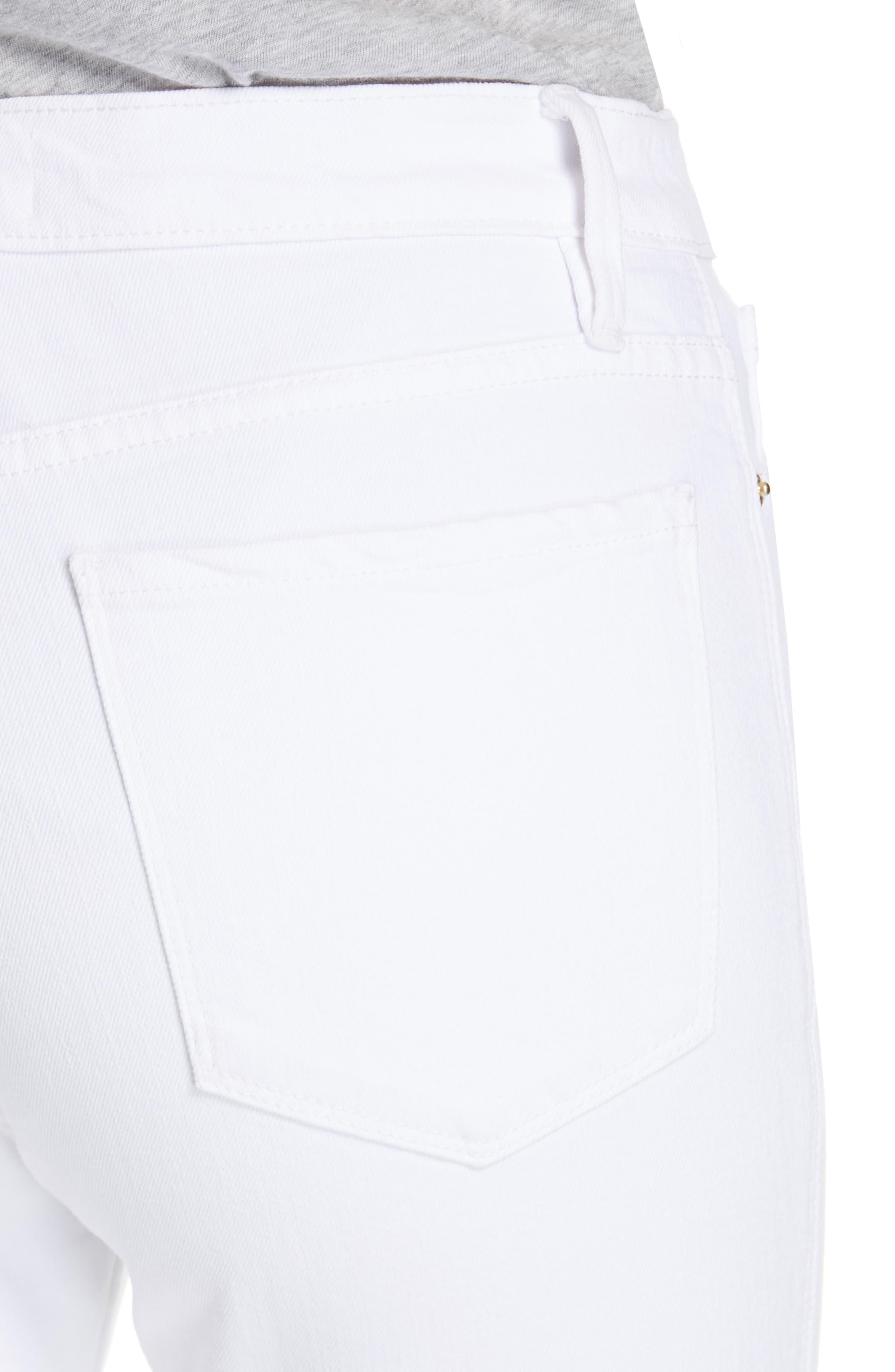FRAME, Le Sylvie Slit Hem Ankle Slim Jeans, Alternate thumbnail 4, color, 100