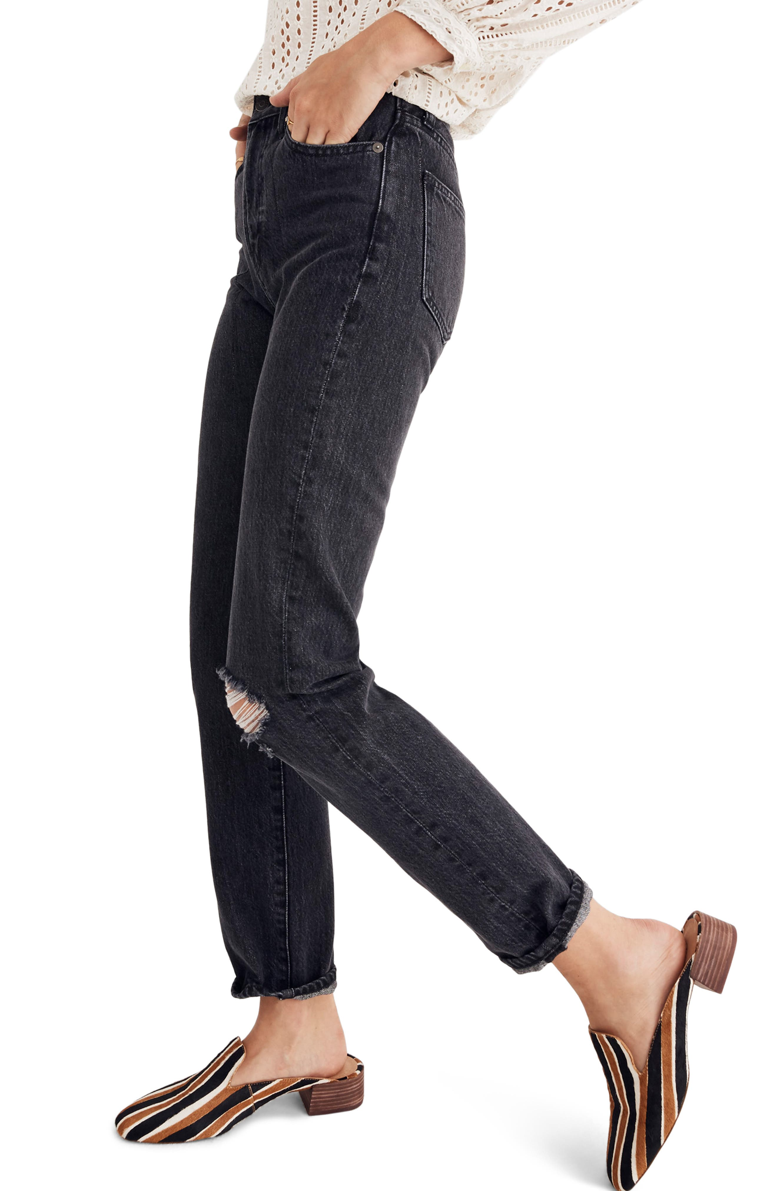 MADEWELL, The Perfect Vintage Ripped Knee Jeans, Alternate thumbnail 4, color, ROXSTONE