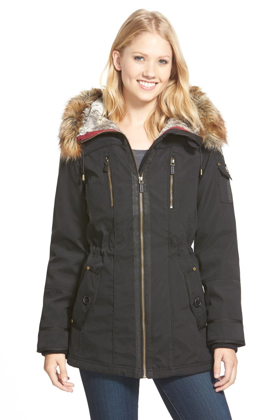 1 MADISON Faux Fur Trim Parka, Main, color, 001