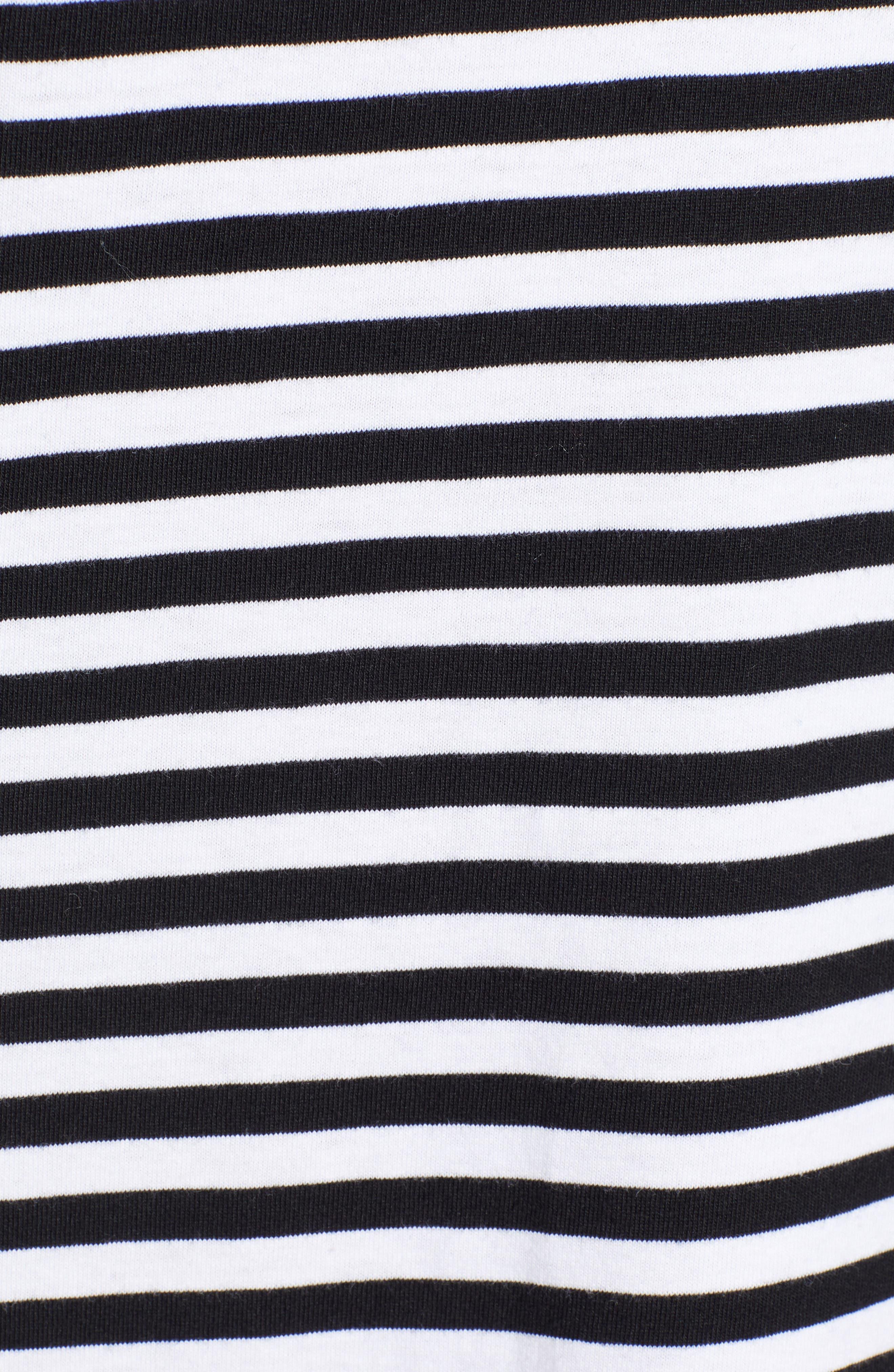 1901, Knit Shift Dress, Alternate thumbnail 6, color, BLACK- IVORY STRIPE