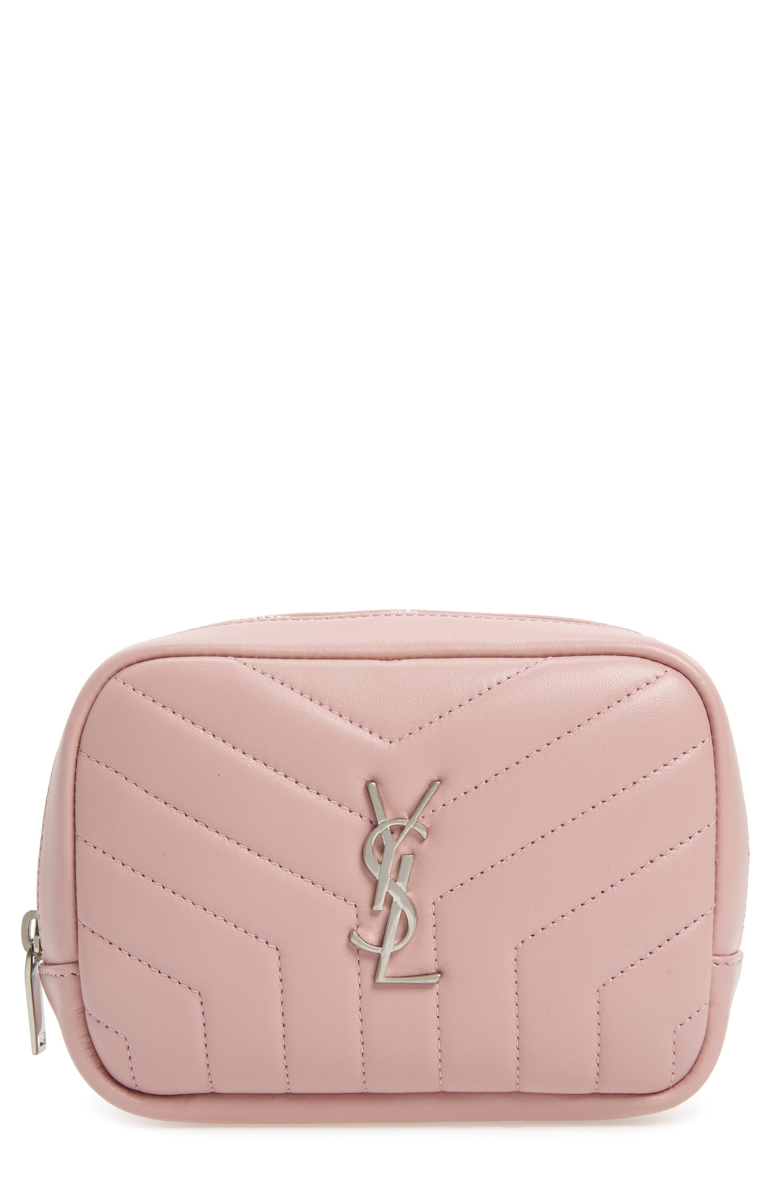 SAINT LAURENT Loulou Matelassé Leather Cosmetics Bag, Main, color, TENDER PINK