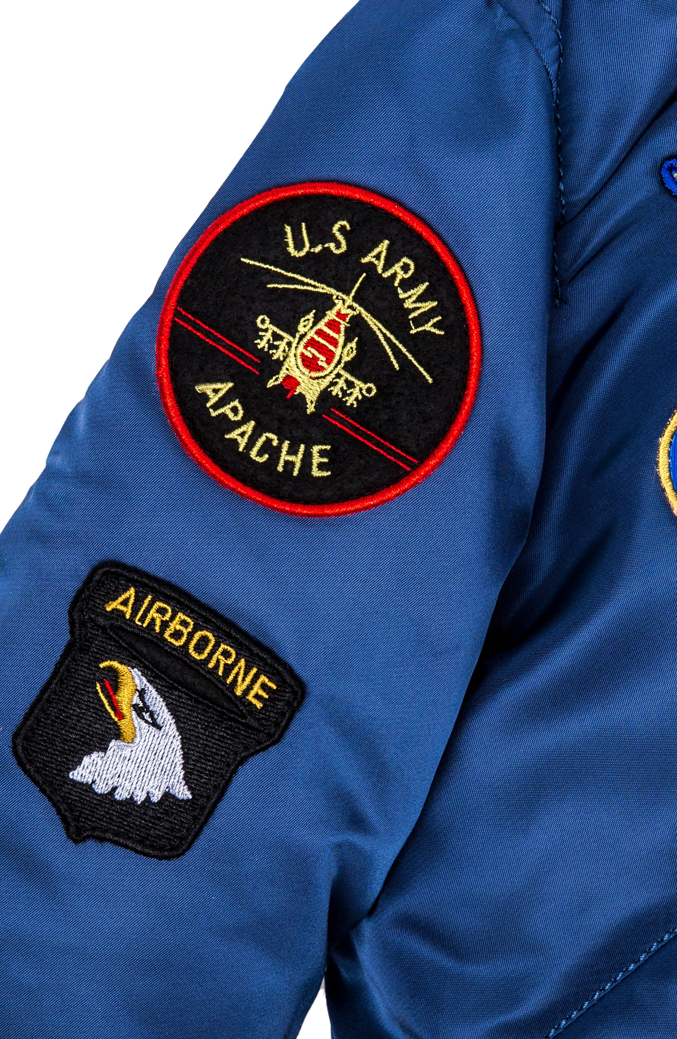 ALPHA INDUSTRIES, MA-1 Patch Flight Jacket, Alternate thumbnail 3, color, BLUE NO 9