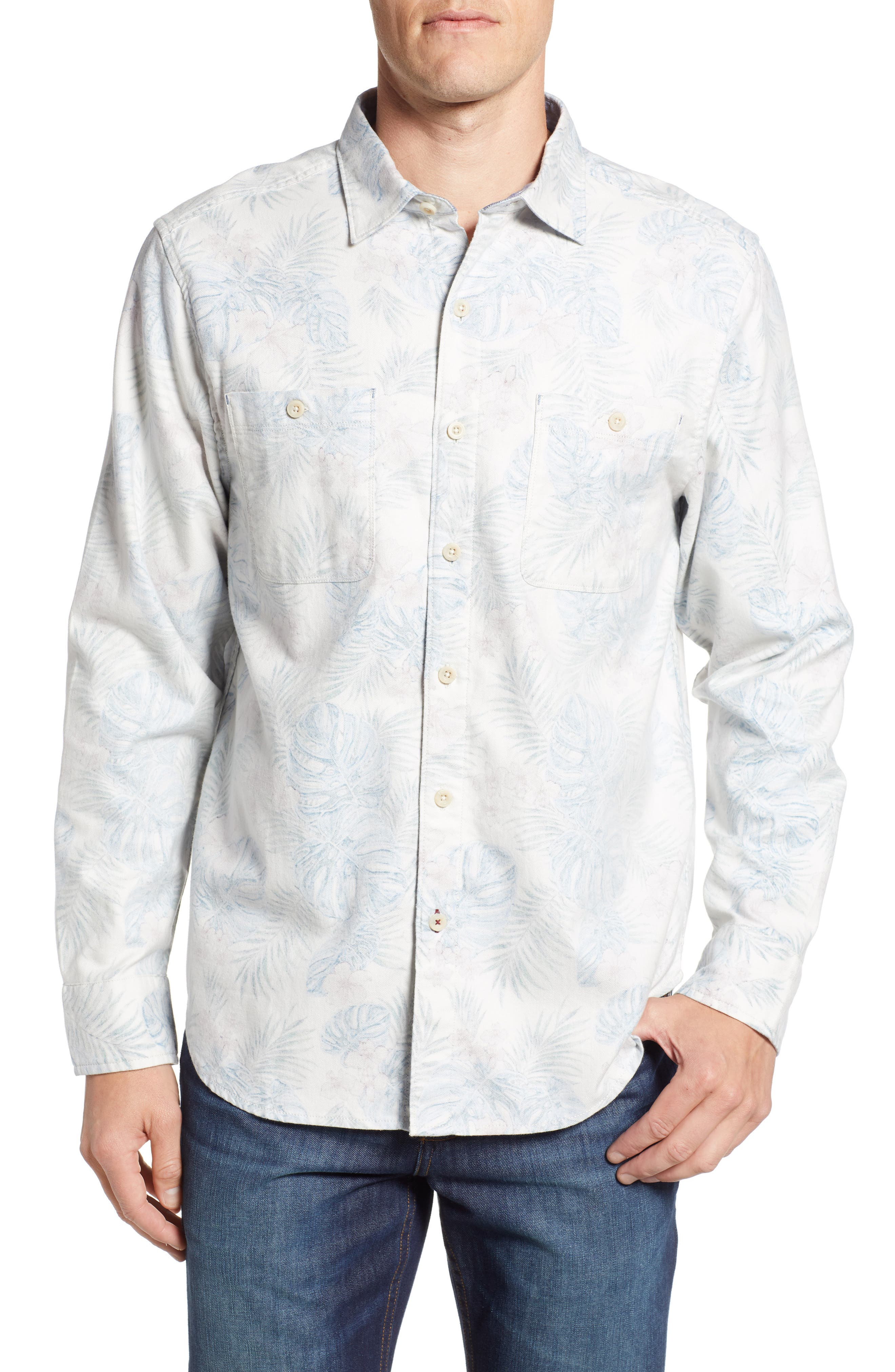 TOMMY BAHAMA, Beach Palms Long Sleeve Flannel Sport Shirt, Main thumbnail 1, color, 200