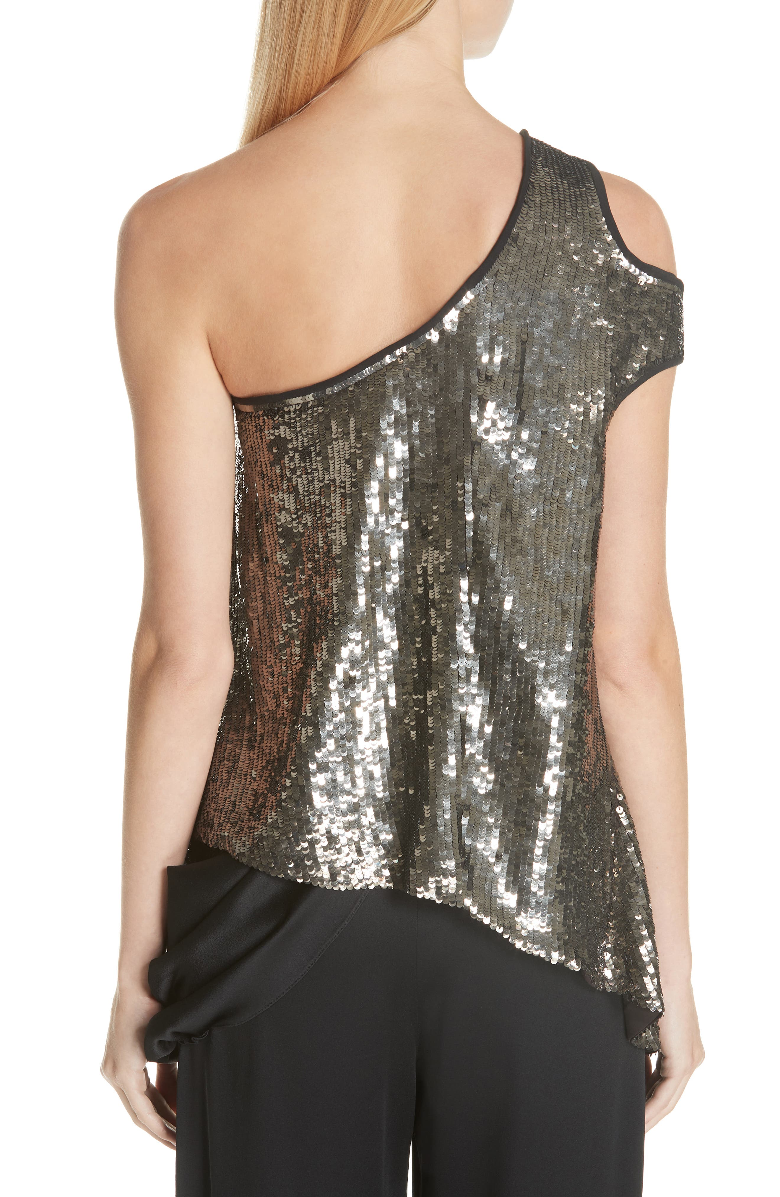 MONSE, Cutout Shoulder Sequin Tank, Alternate thumbnail 2, color, GUN METAL