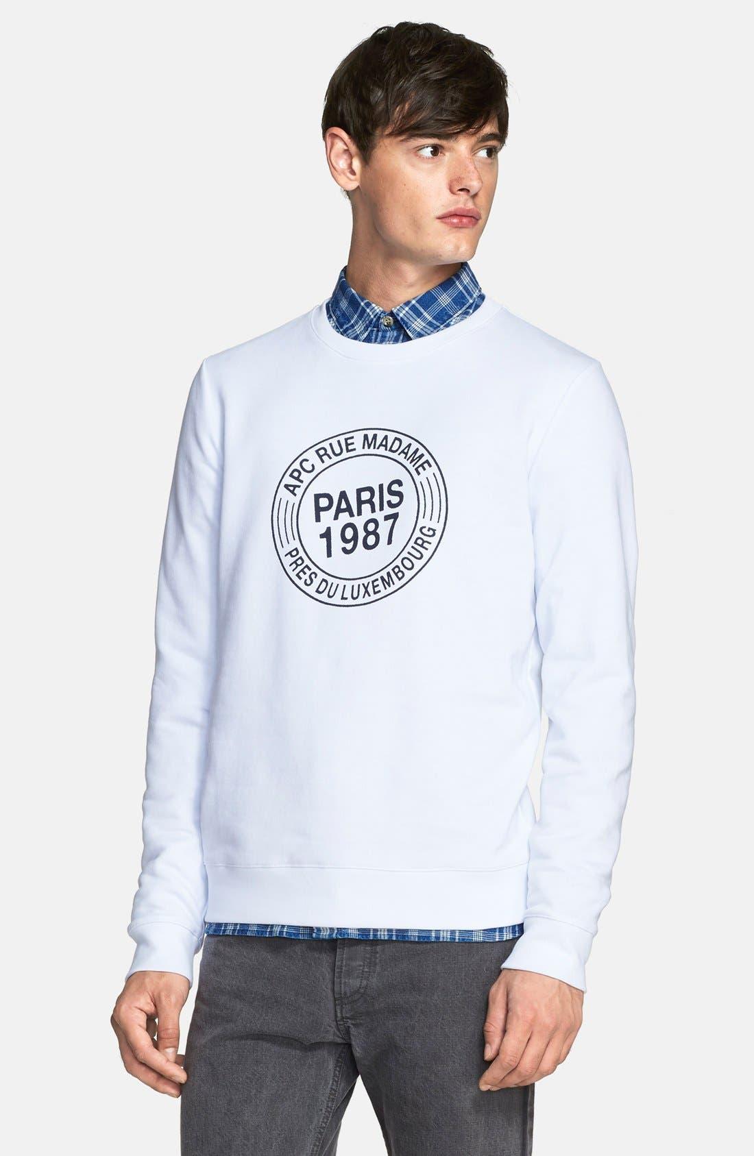 A.P.C. 'Paris 87' Graphic Sweatshirt, Main, color, 100