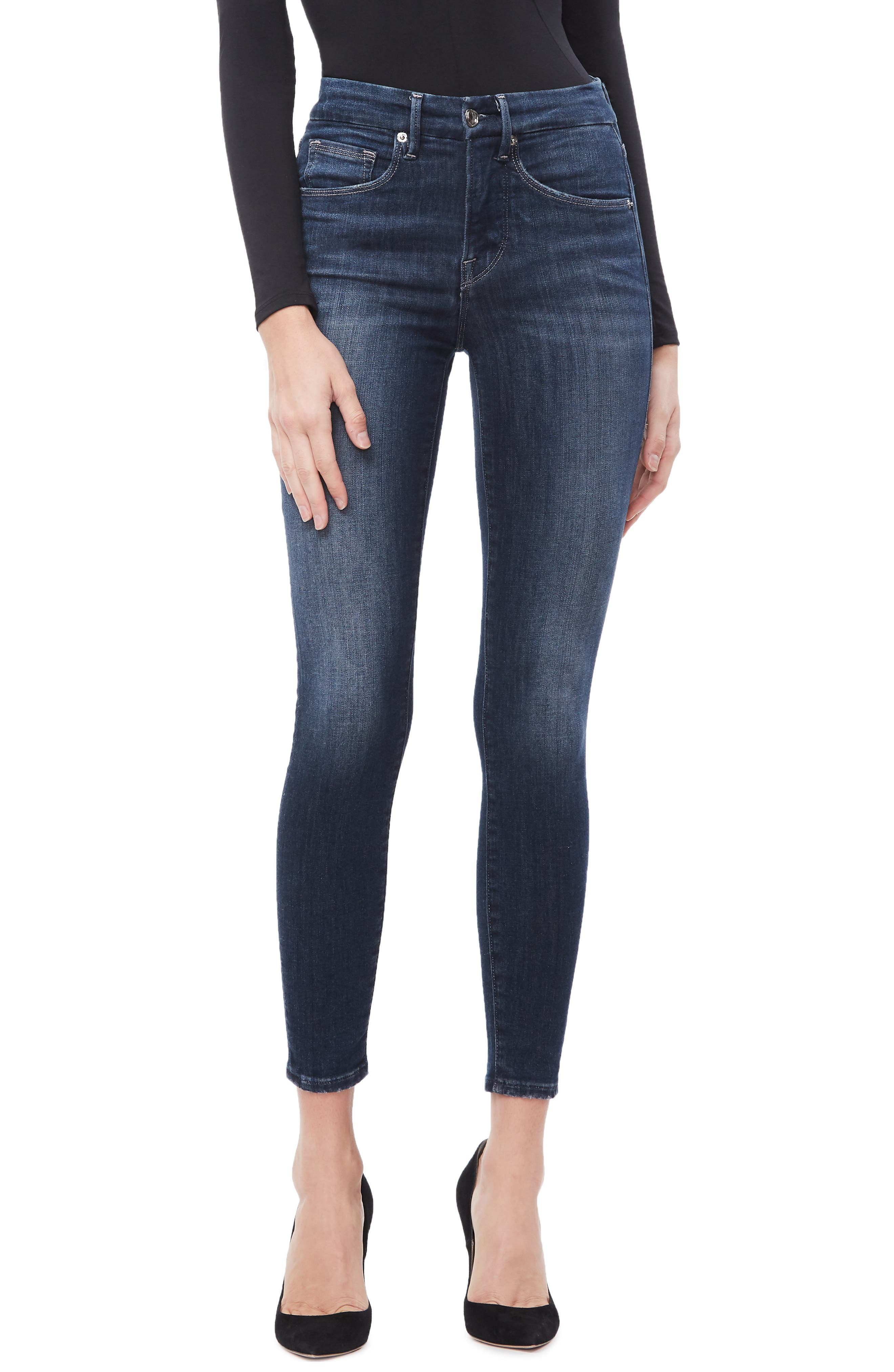 GOOD AMERICAN, Good Legs Ankle Skinny Jeans, Main thumbnail 1, color, BLUE260