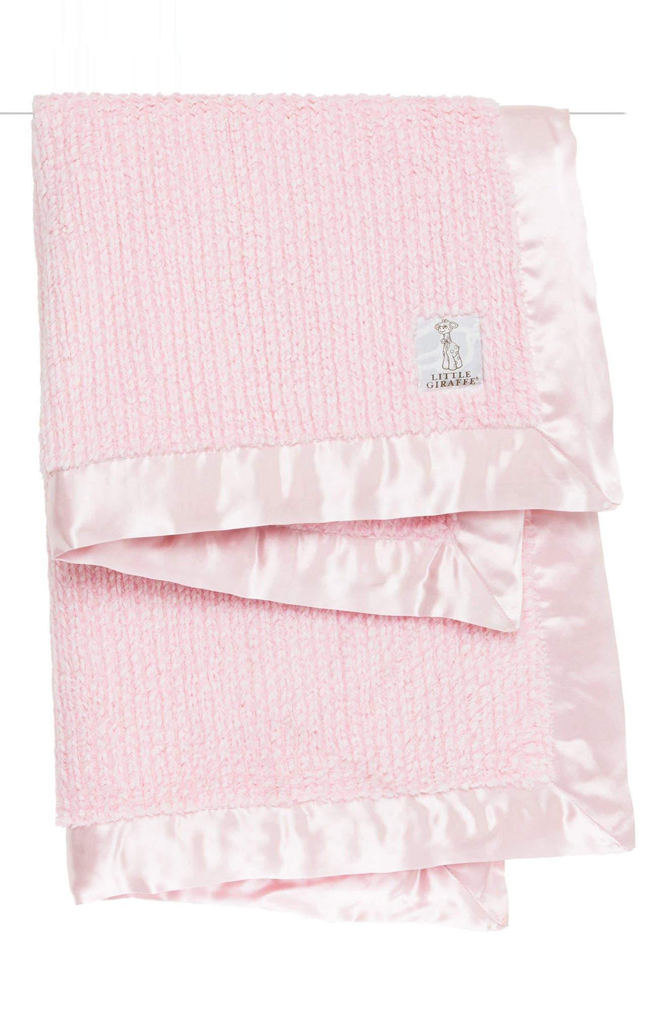LITTLE GIRAFFE Luxe Herringbone Blanket, Main, color, PINK