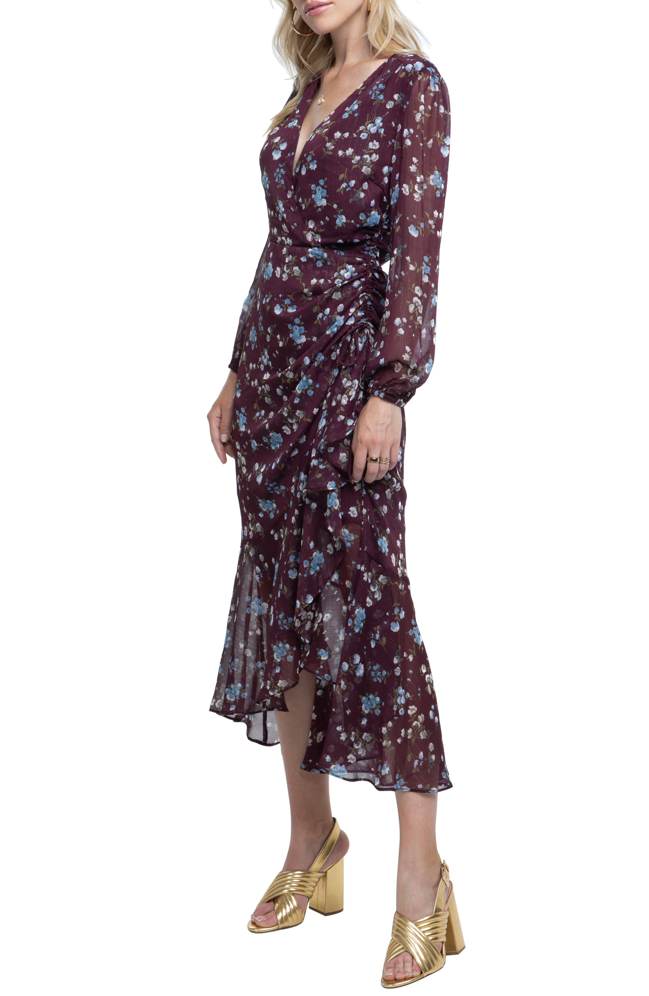 ASTR THE LABEL, Side Cinched Ruffle Hem Dress, Alternate thumbnail 3, color, WINE FLORAL