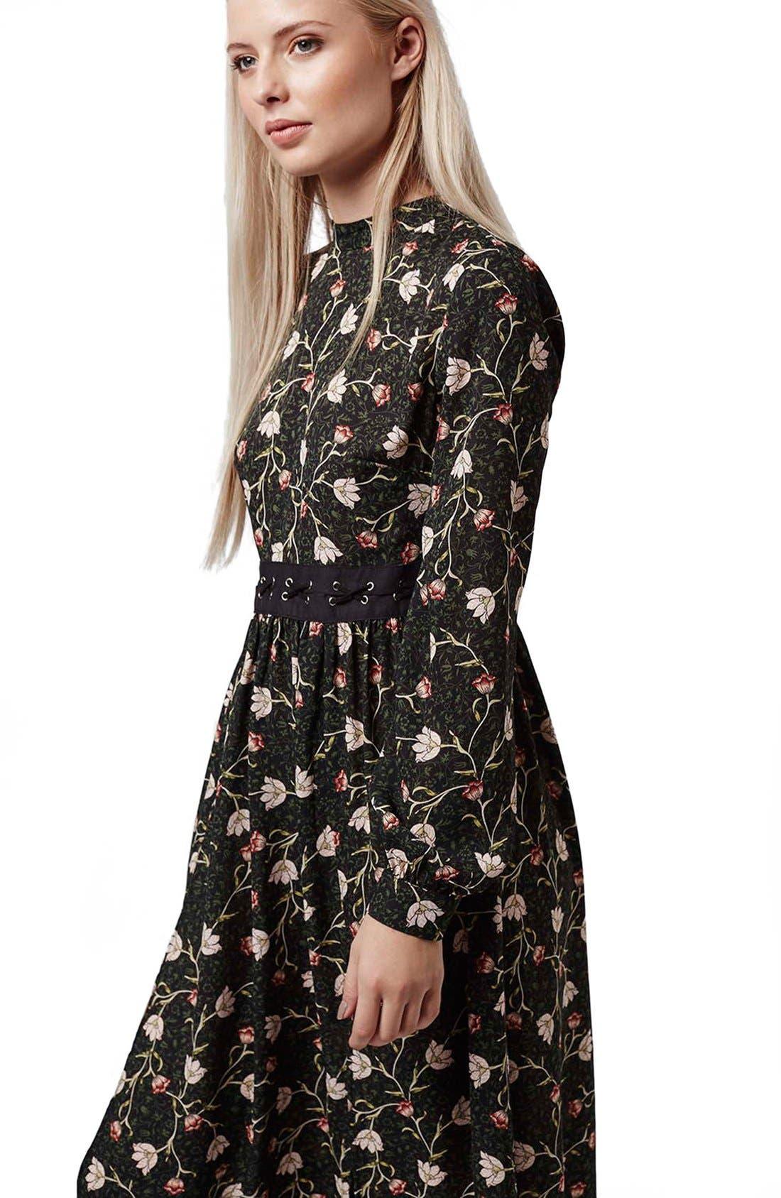 TOPSHOP, Tulip Print Midi Dress, Alternate thumbnail 6, color, 301