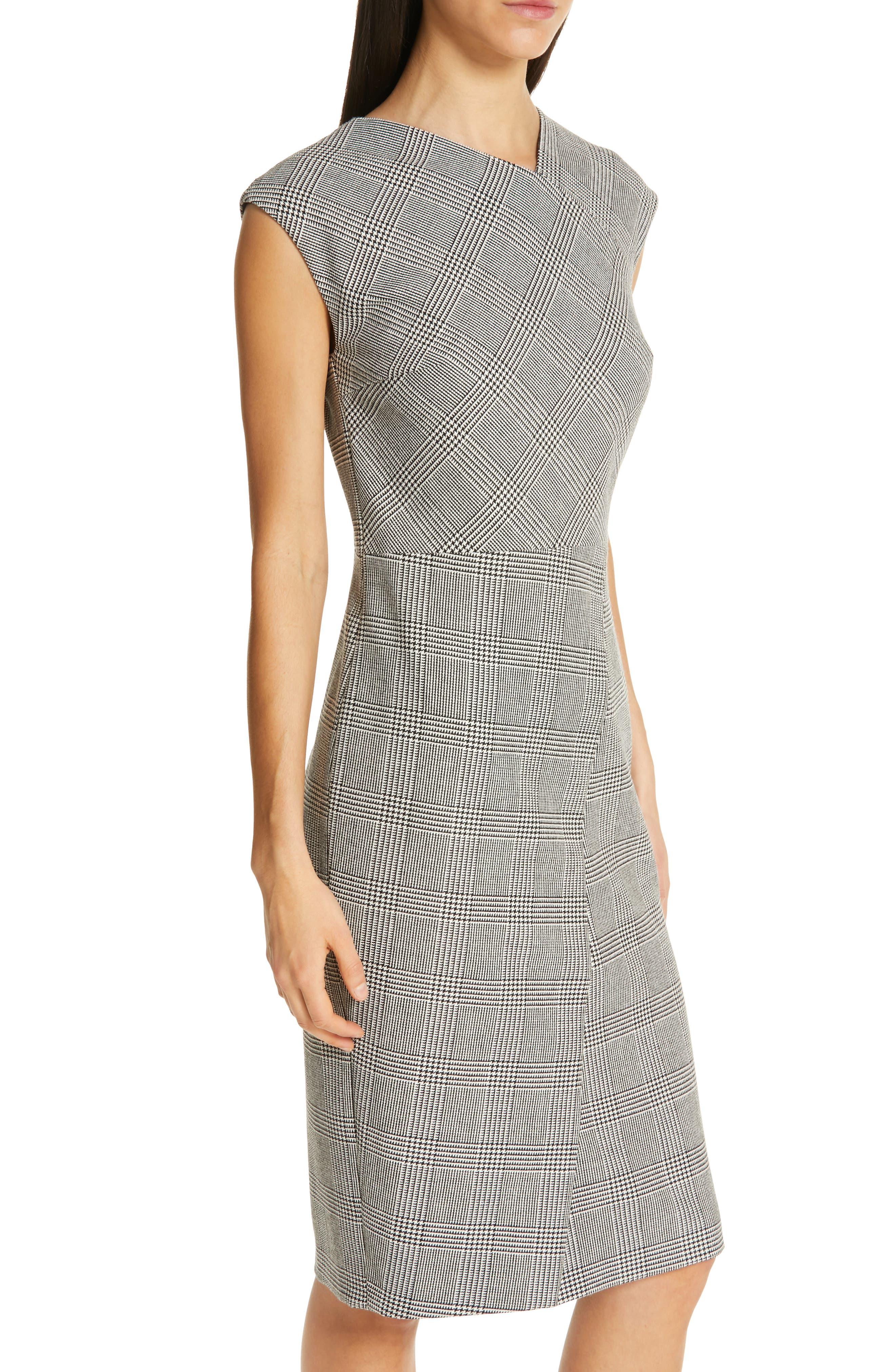 BOSS, Dechesta Glen Plaid Sheath Dress, Alternate thumbnail 5, color, 020