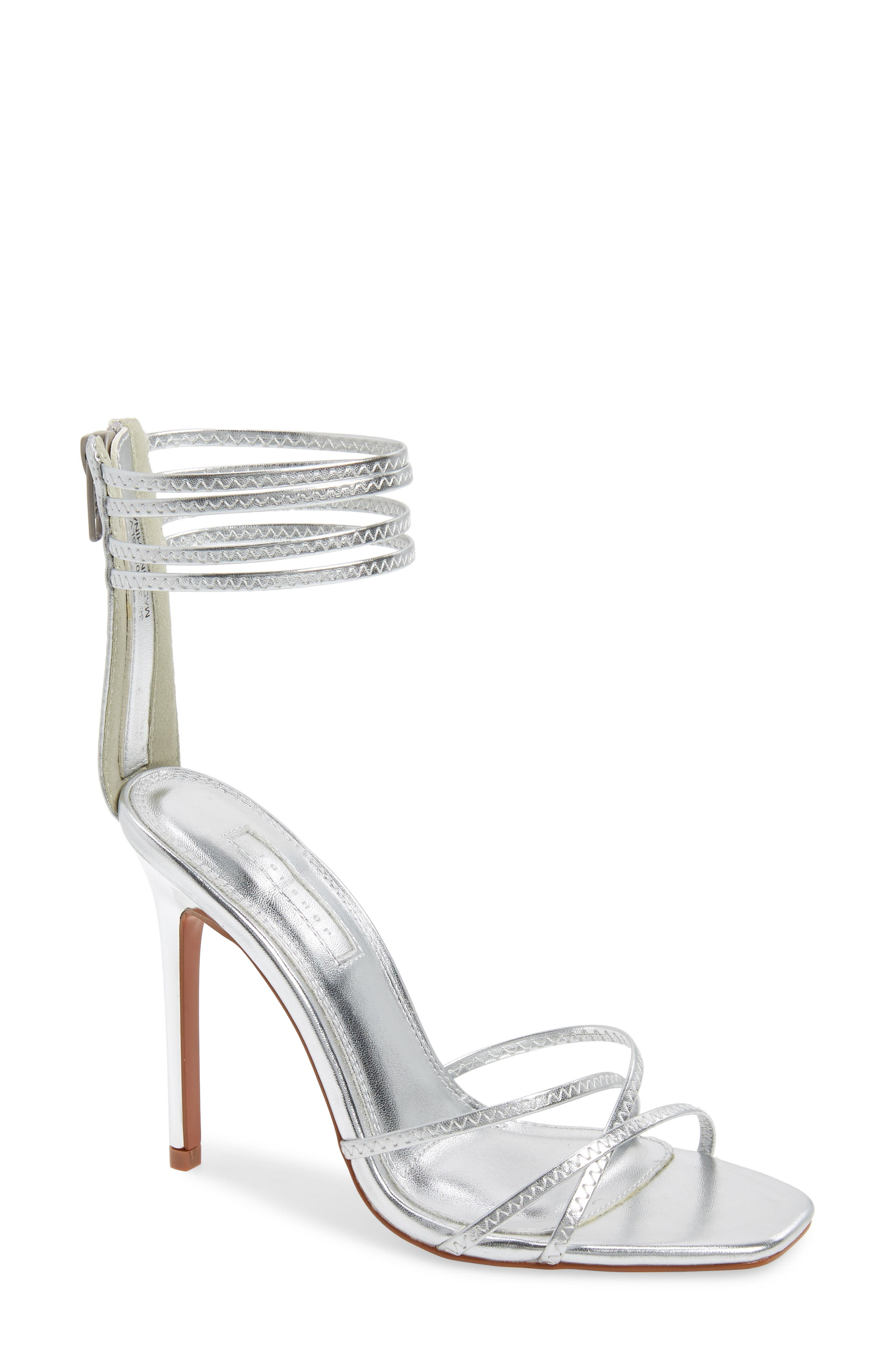 TOPSHOP, Rich Tall Strappy Sandal, Main thumbnail 1, color, SILVER