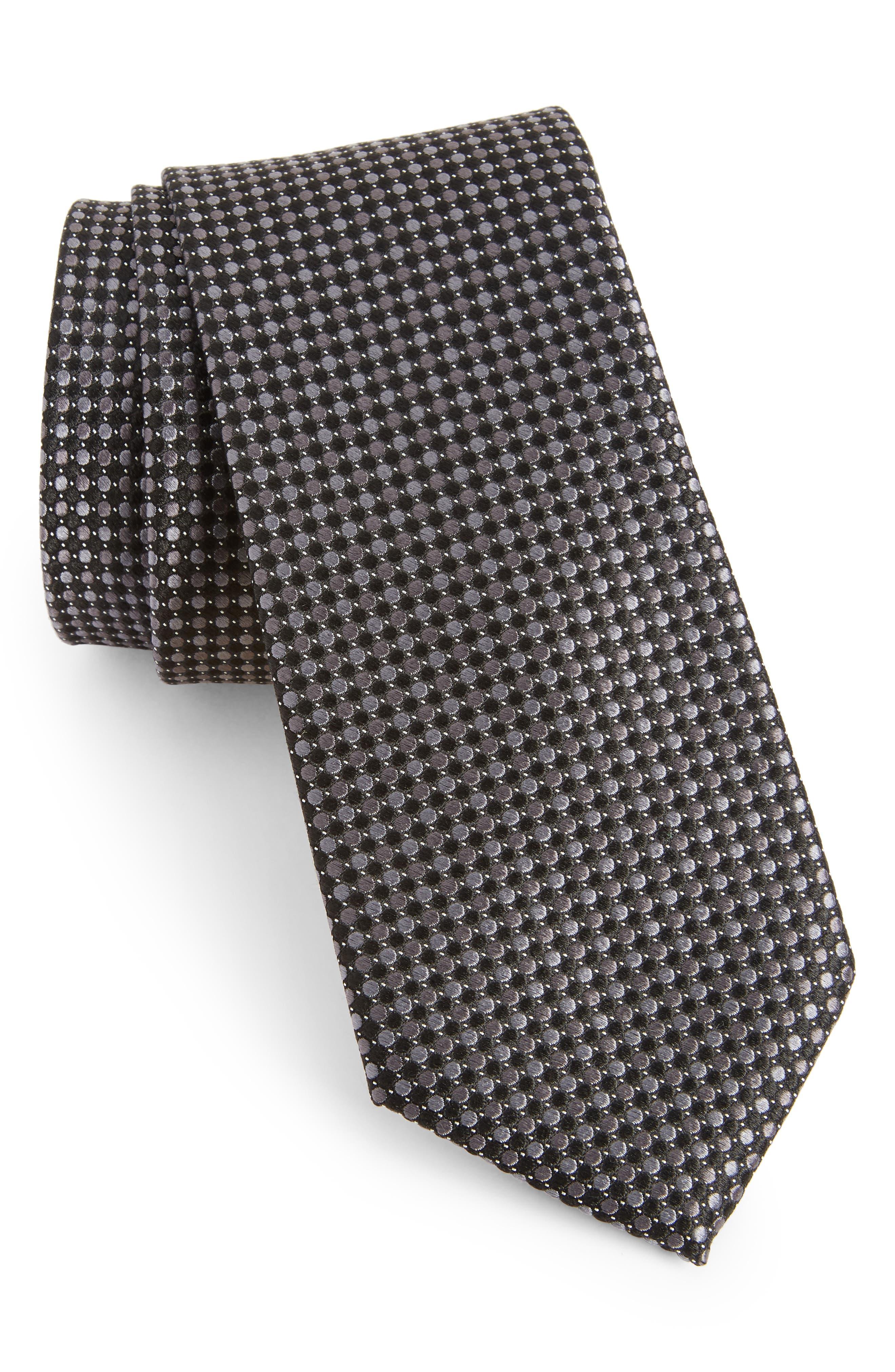 NORDSTROM MEN'S SHOP, Morris Micro Silk Tie, Main thumbnail 1, color, BLACK