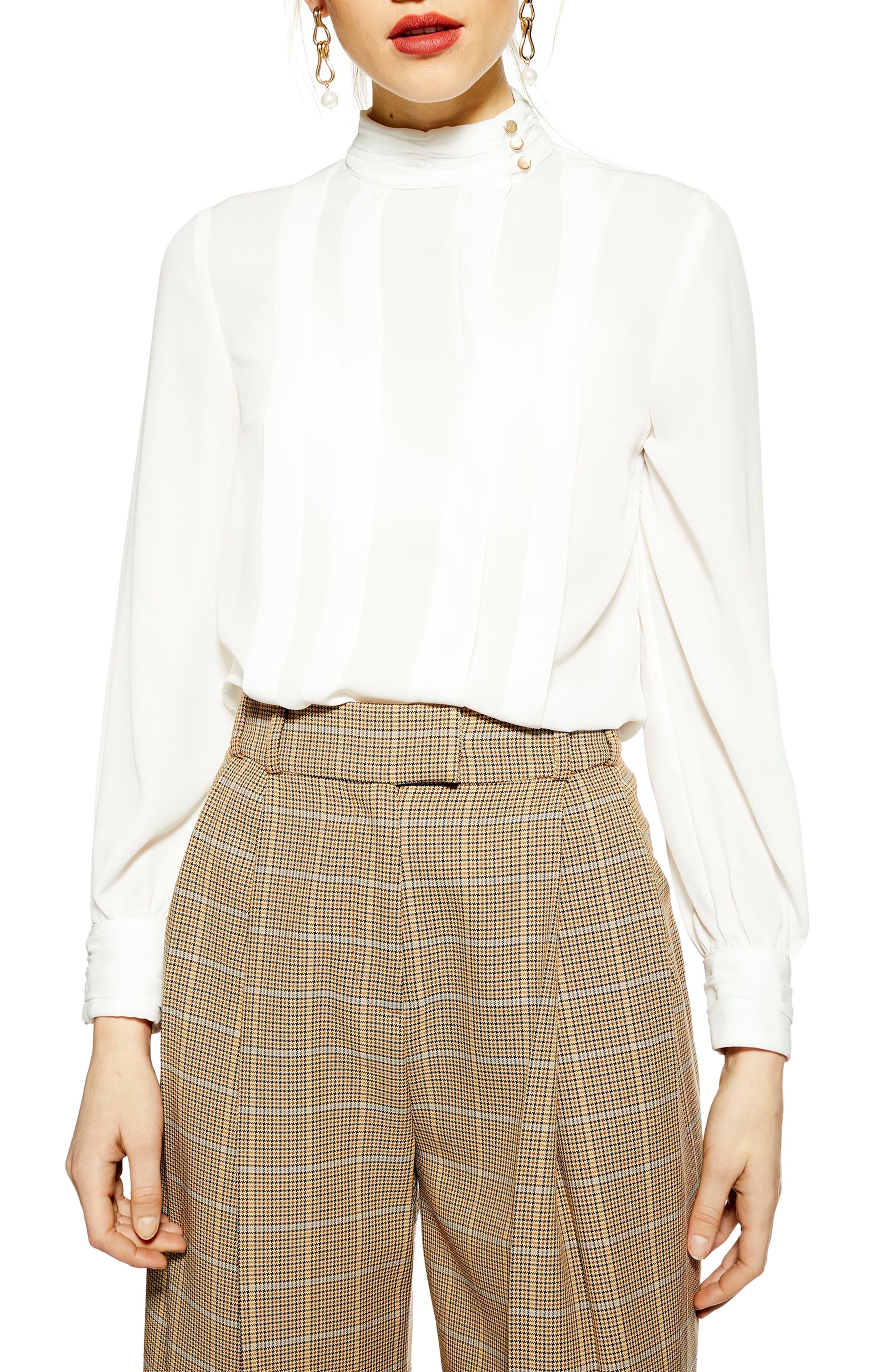TOPSHOP Pleat Button Neck Shirt, Main, color, 900