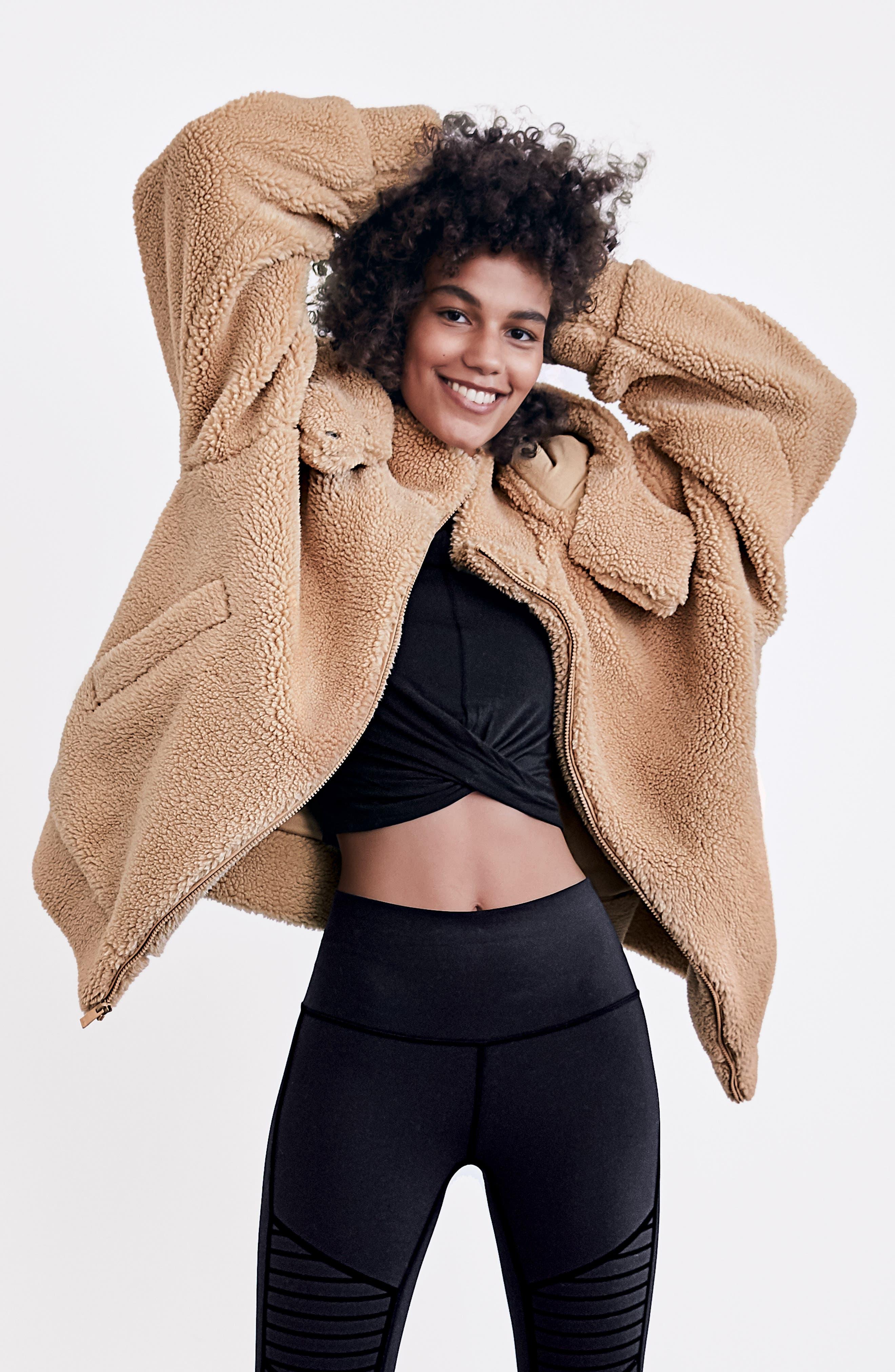 ALO, Norte Faux Fur Coat, Alternate thumbnail 8, color, BLACK