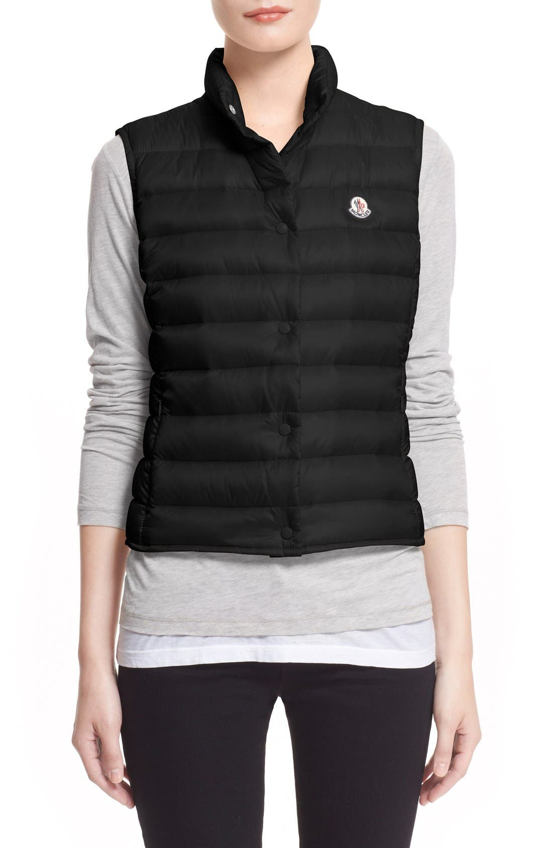 MONCLER, 'Liane' Water Resistant Short Down Vest, Main thumbnail 1, color, BLACK