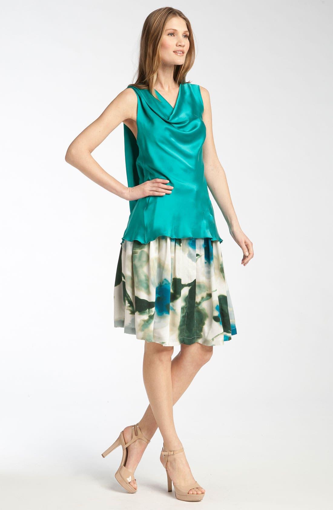 ZZDNU RACHEL RACHEL ROY Rachel Roy Pleated Watercolor Print Silk Skirt, Main, color, 400