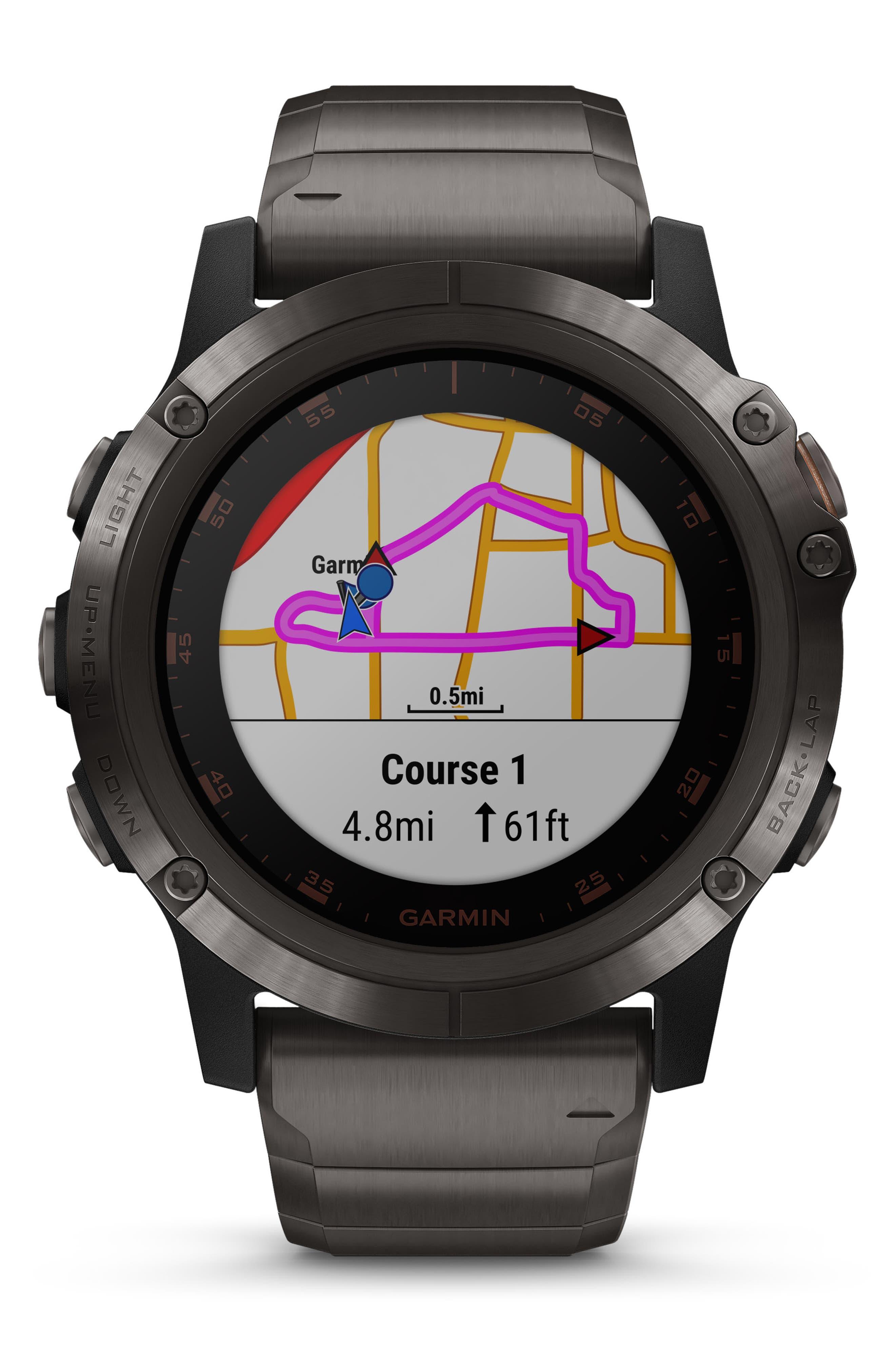 GARMIN, fenix<sup>®</sup> 5X Plus Sapphire Premium Multisport GPS Watch, 51mm, Alternate thumbnail 7, color, CARBON GRAY