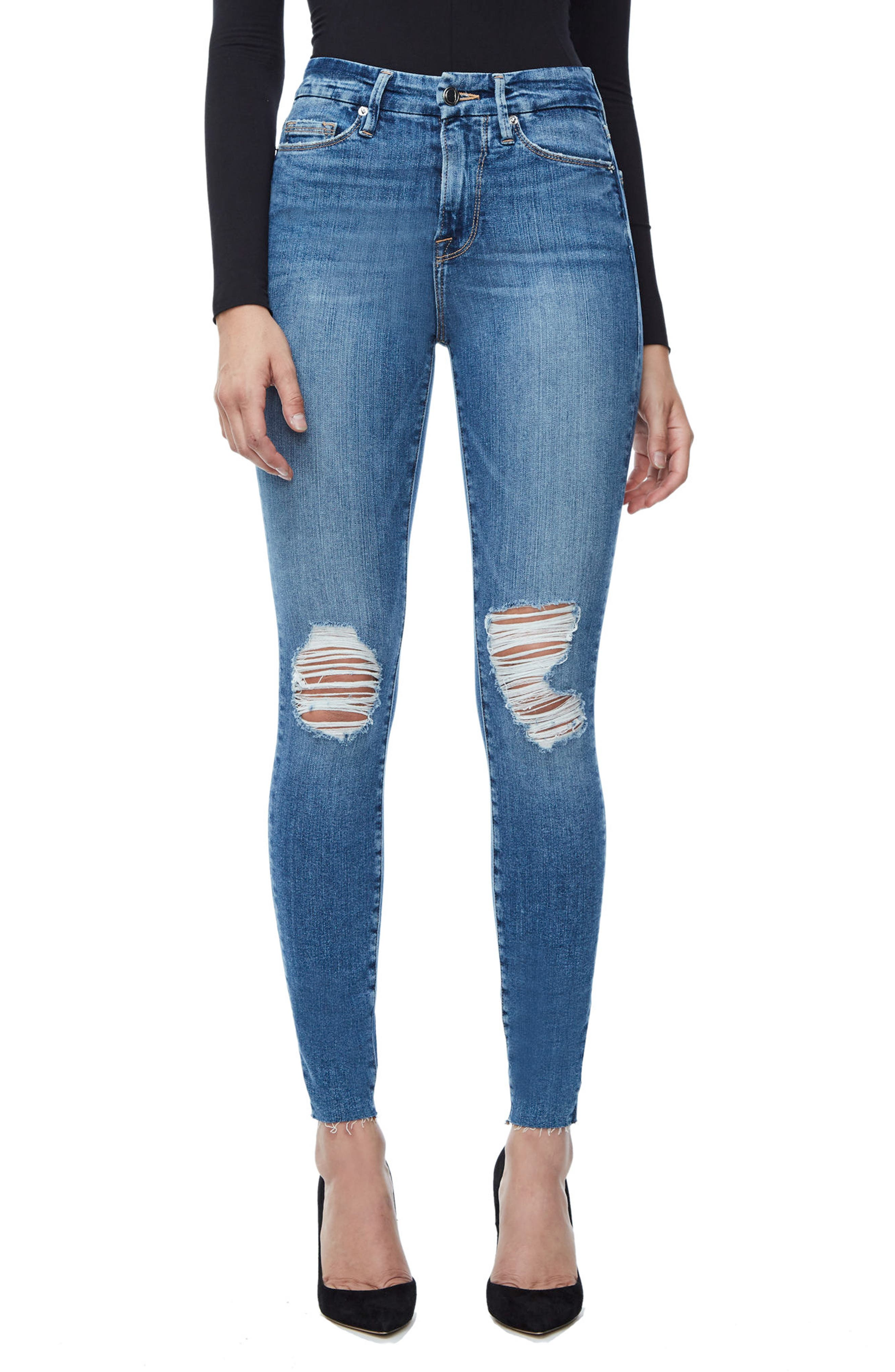 GOOD AMERICAN, Good Waist Raw Edge Skinny Jeans, Main thumbnail 1, color, BLUE 092