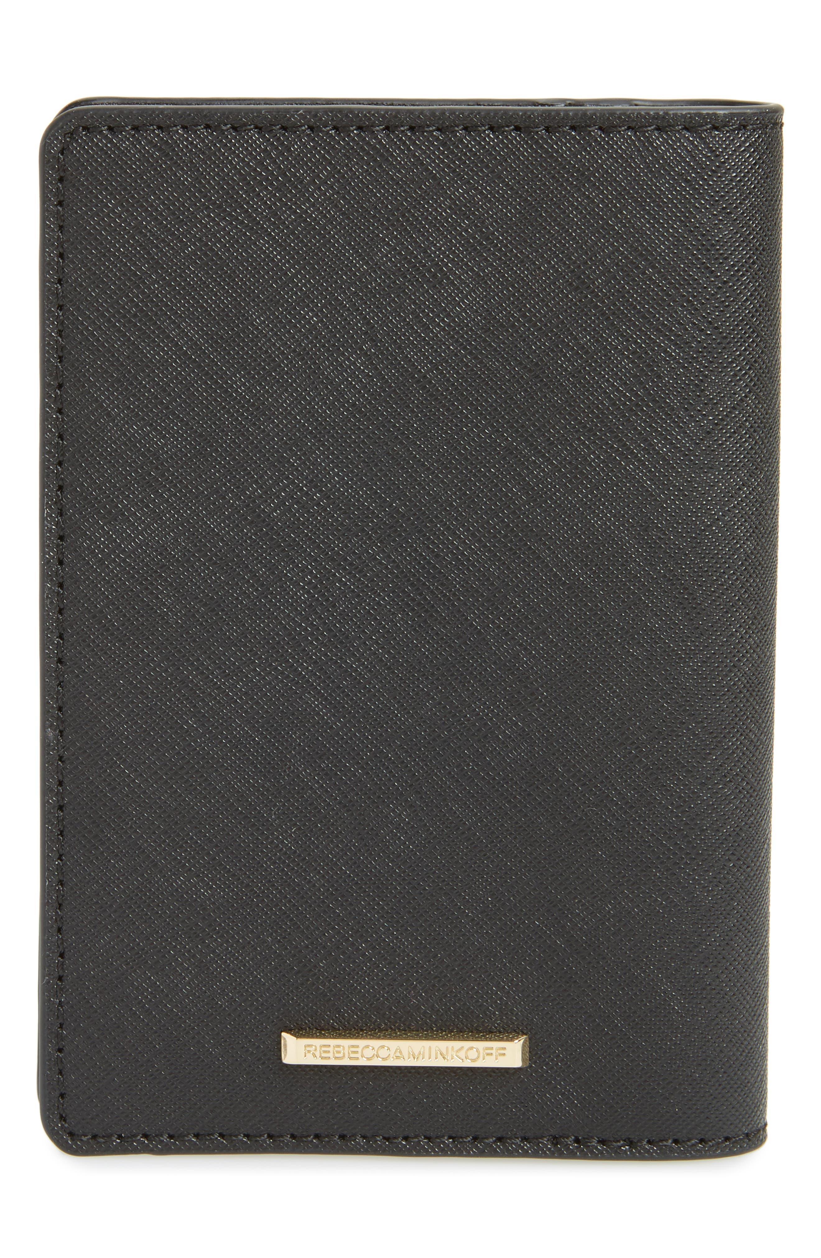 REBECCA MINKOFF, Leather Passport Holder, Alternate thumbnail 4, color, 001